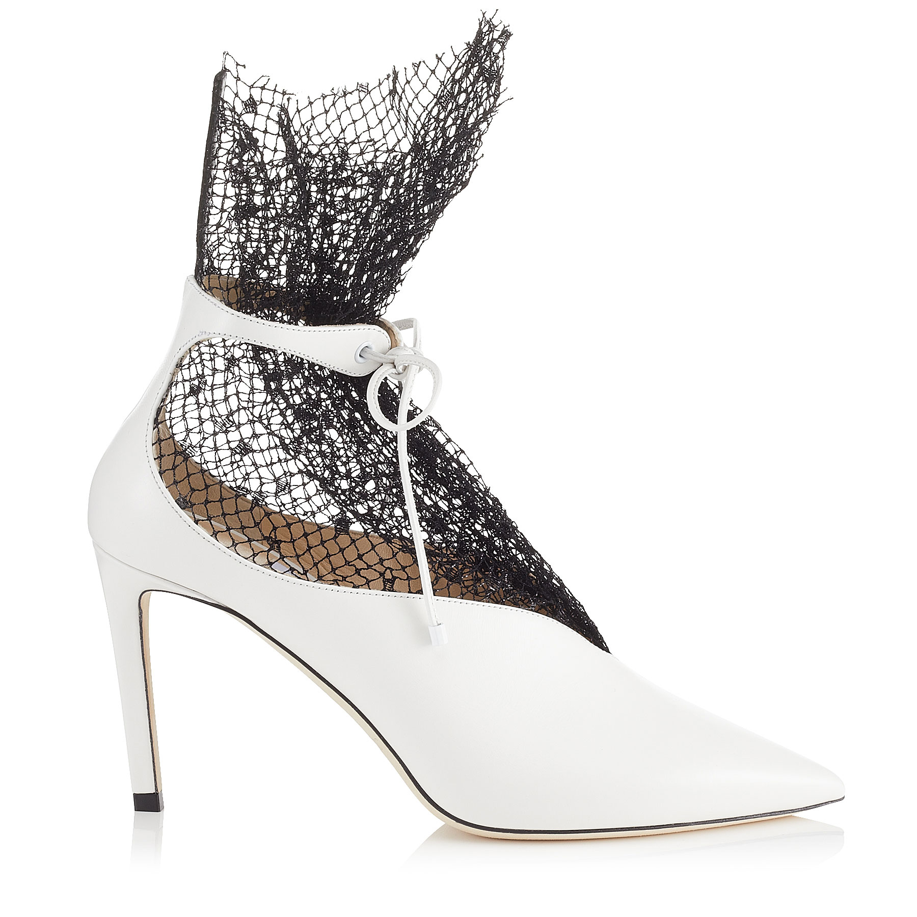 LEANNE 85 White Calf Leather Booties with Polka Dot Net by Jimmy Choo