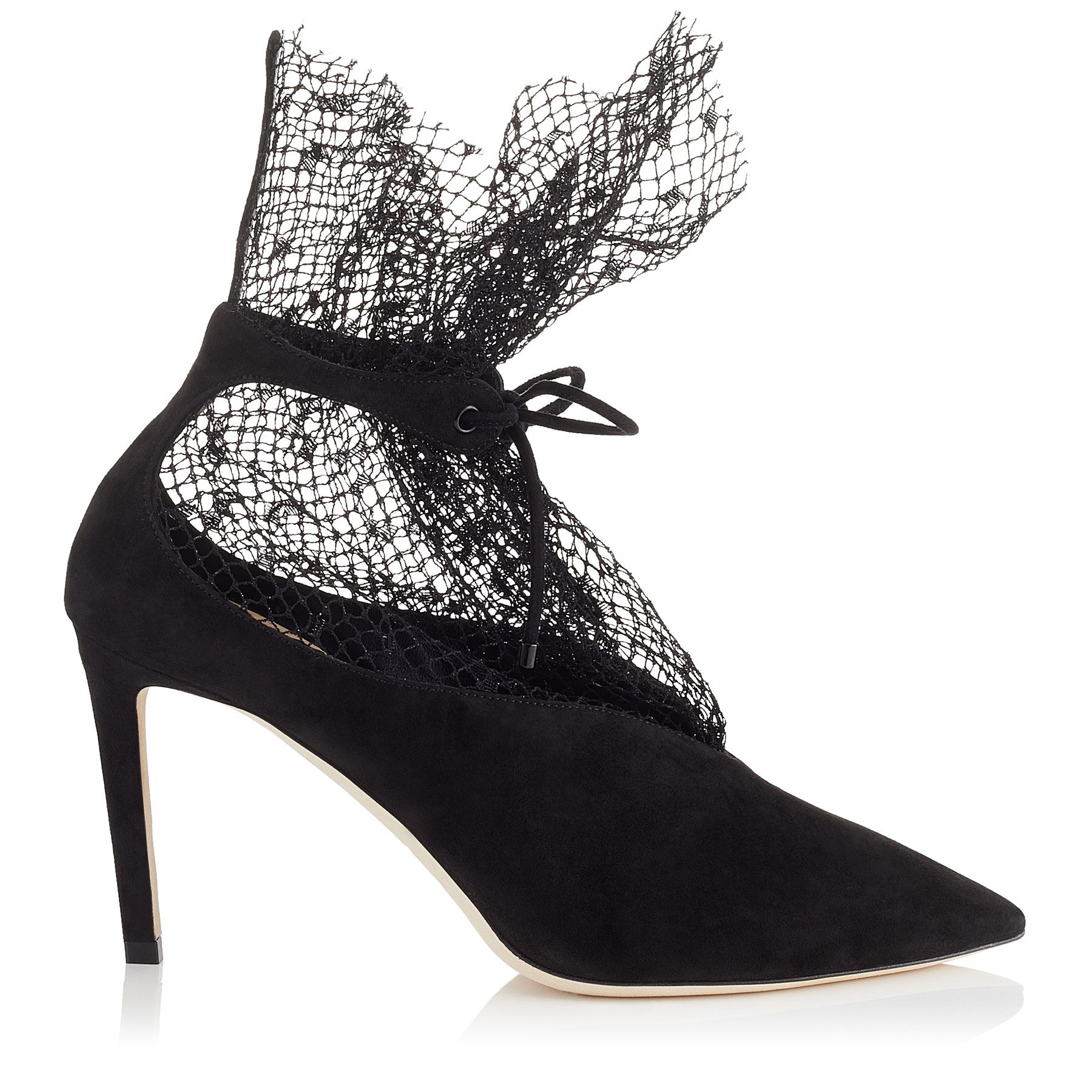 LEANNE 85 Black Suede Booties with Polka Dot Net by Jimmy Choo