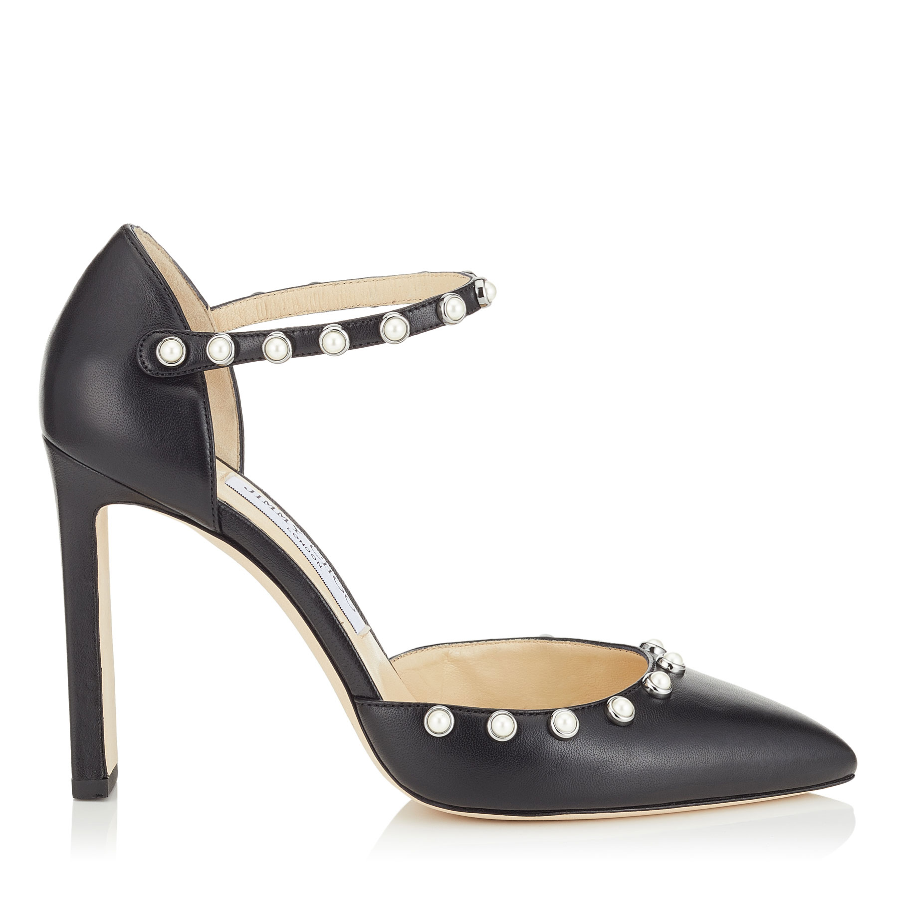 LEEMA 100 Black Nappa Leather Pumps with Beads by Jimmy Choo