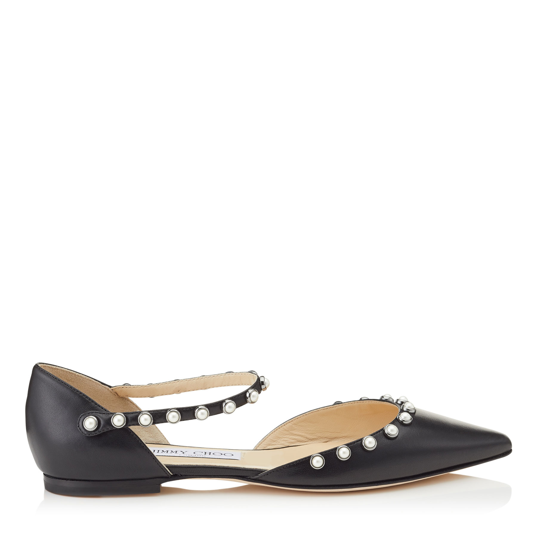 LEEMA FLAT Black Nappa Leather Flats with Beads by Jimmy Choo