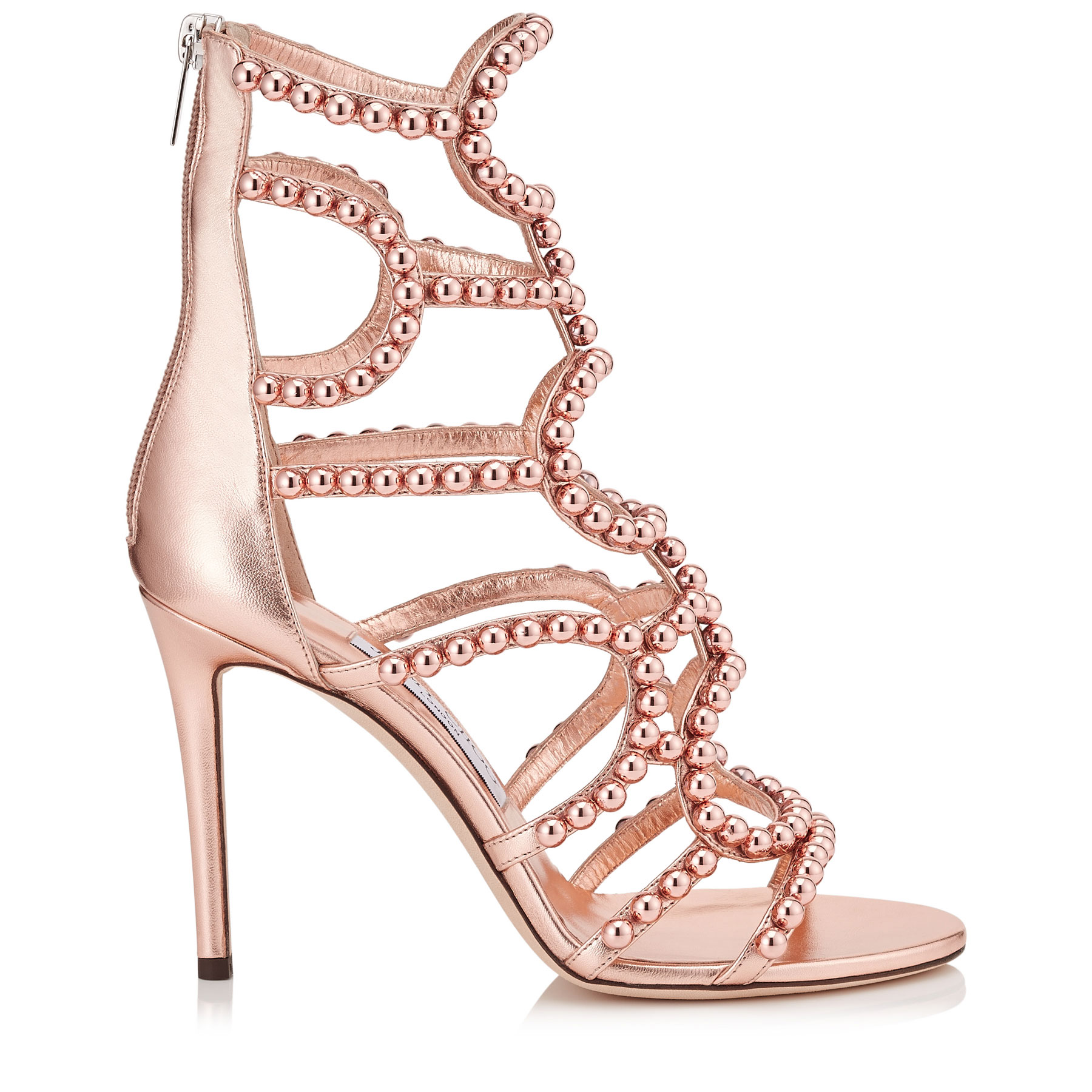 LEJA 100 Tea Rose and Copper Metallic Nappa with Beads Sandals by Jimmy Choo
