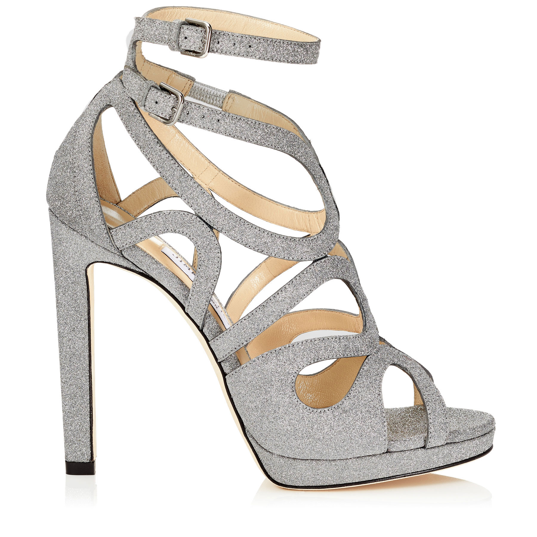 LEO 120 Silver Fine Glitter Leather Platform Sandals by Jimmy Choo