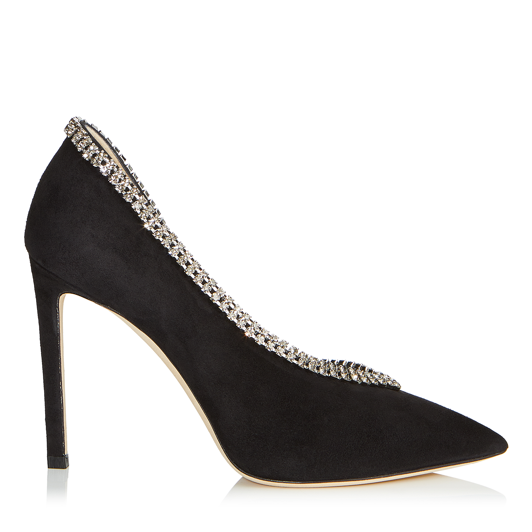 LILIAN 100 Black Suede Pointy Toe Pumps with Crystal Trim by Jimmy Choo