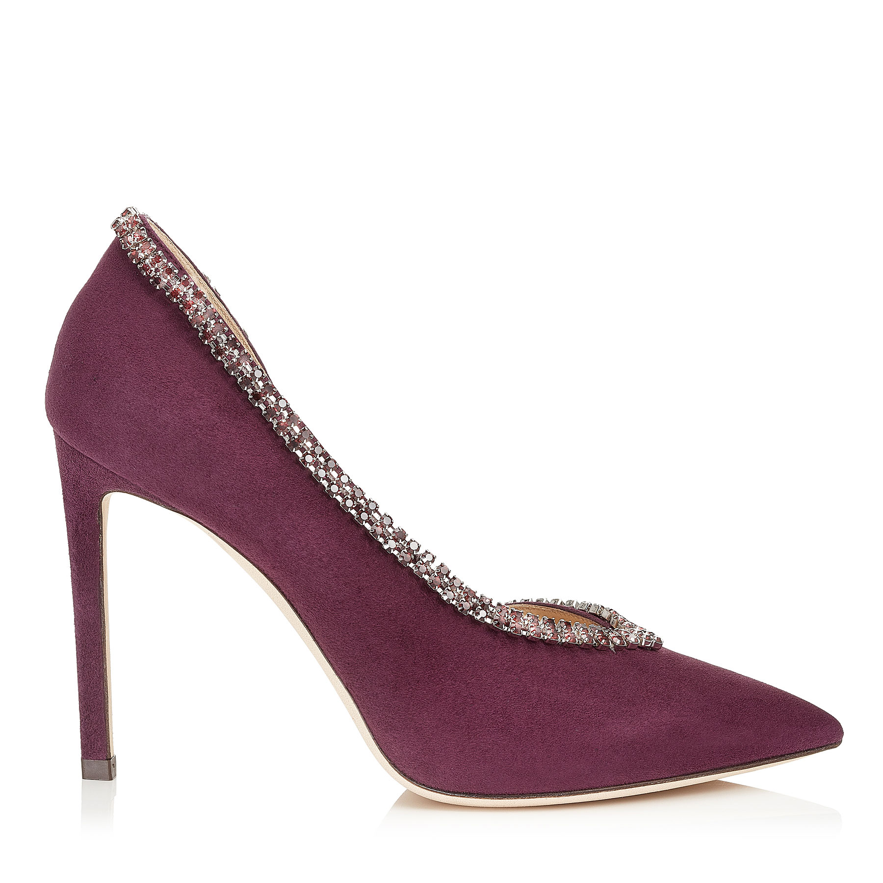 LILIAN 100 Grape Suede Pointy Toe Pumps with Crystal Trim by Jimmy Choo