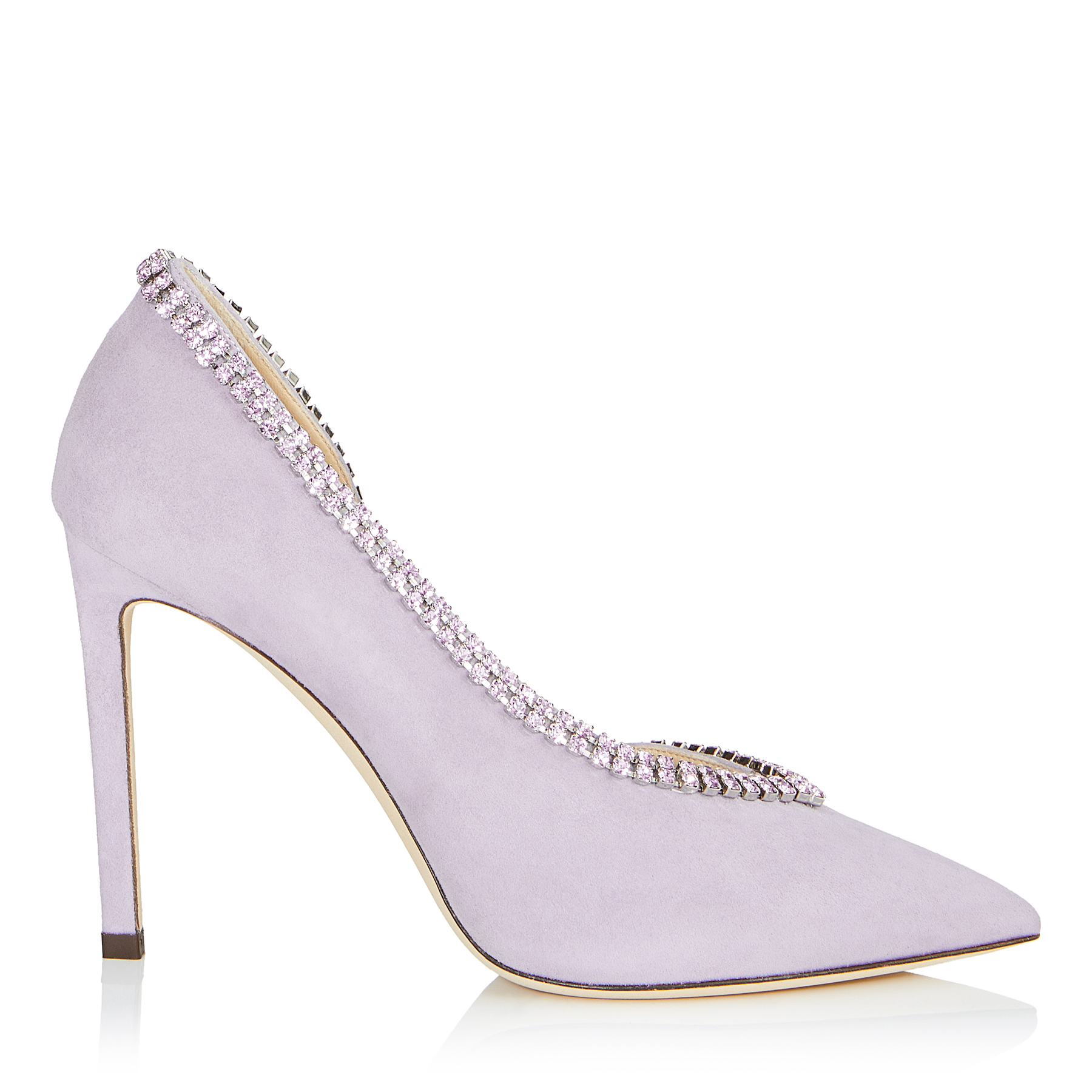 LILIAN 100 Viola Suede Pointy Toe Pumps with Crystal Trim by Jimmy Choo