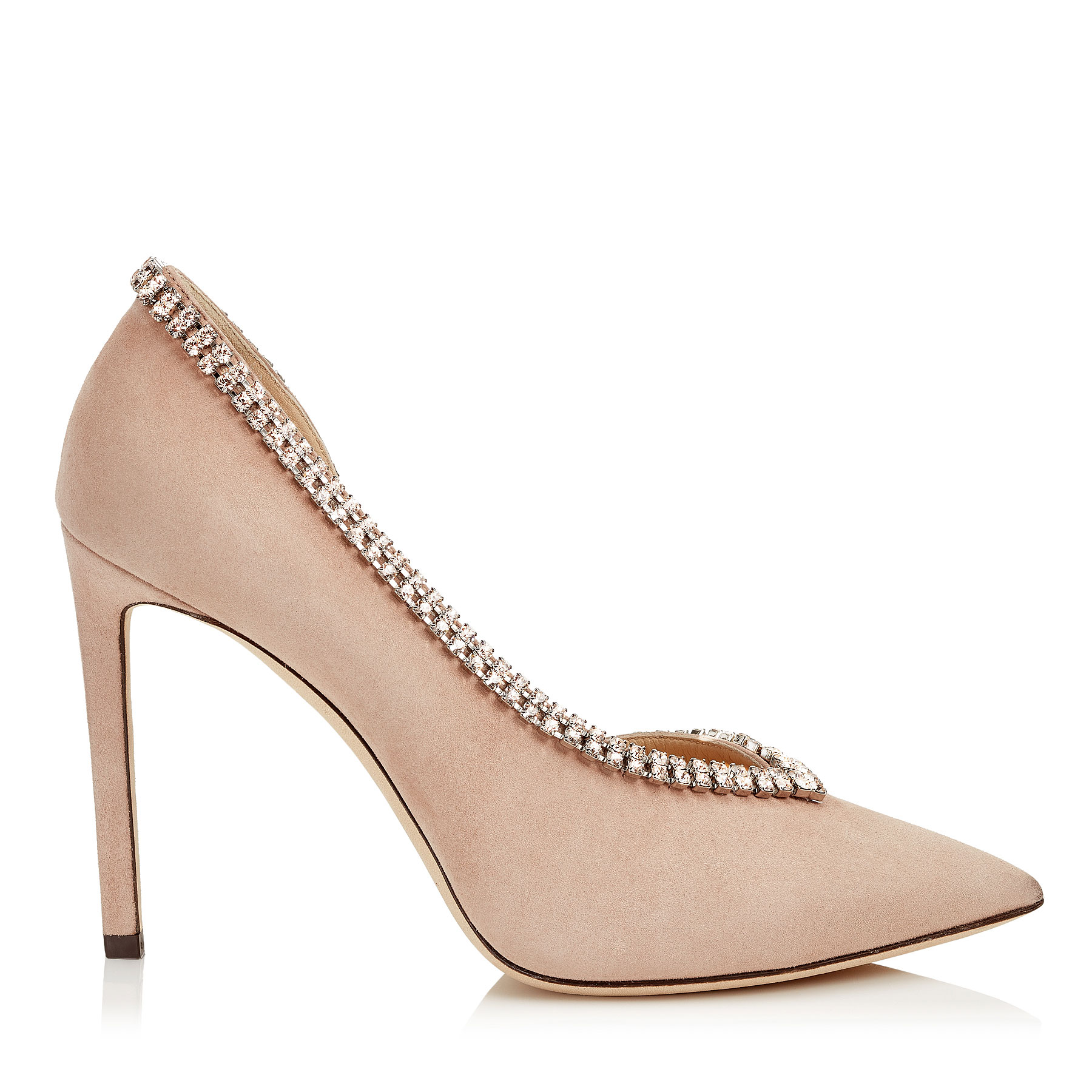 LILIAN 100 Ballet Pink Suede Pointy Toe Pumps with Crystal Trim by Jimmy Choo