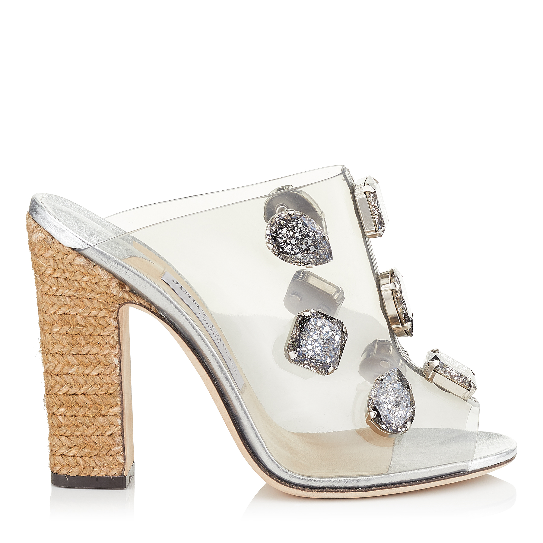 LING 110 Clear Plexi Mules with Jewels and Rope Wedge by Jimmy Choo