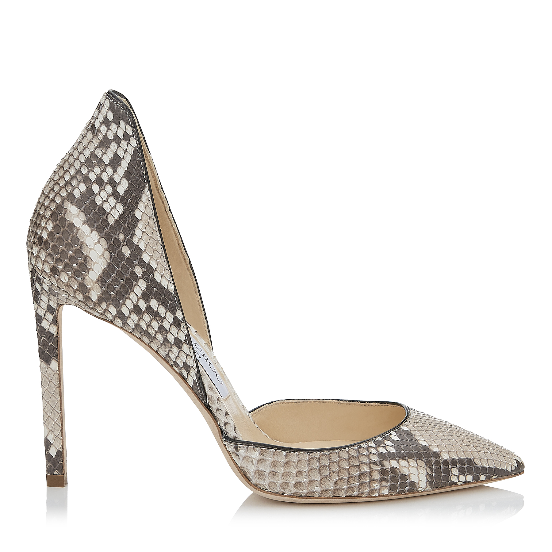 LIZ 100 Natural Matt Python Pointy Toe Pumps by Jimmy Choo