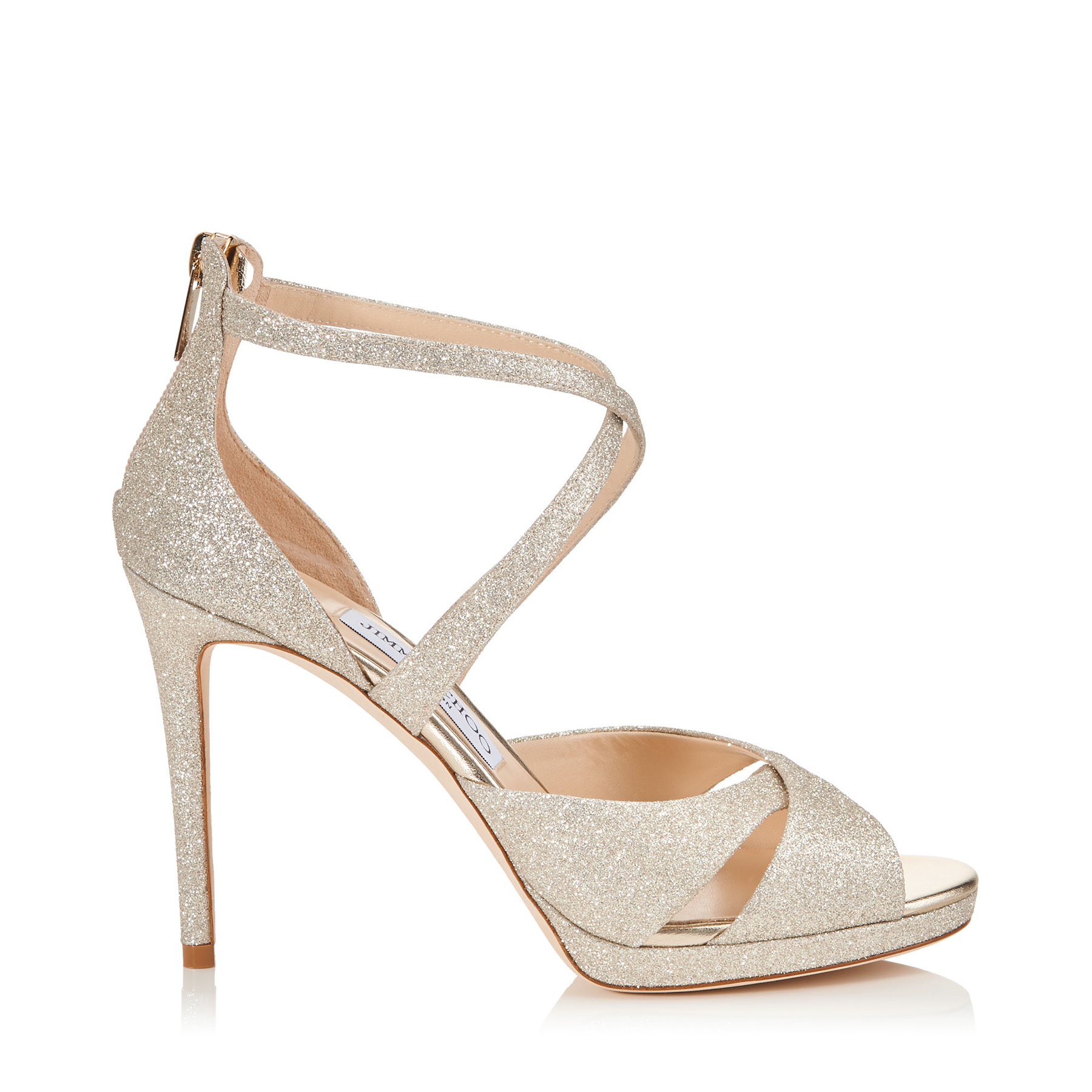 LORINA 100 Platinum Ice Dusty Glitter Sandals by Jimmy Choo