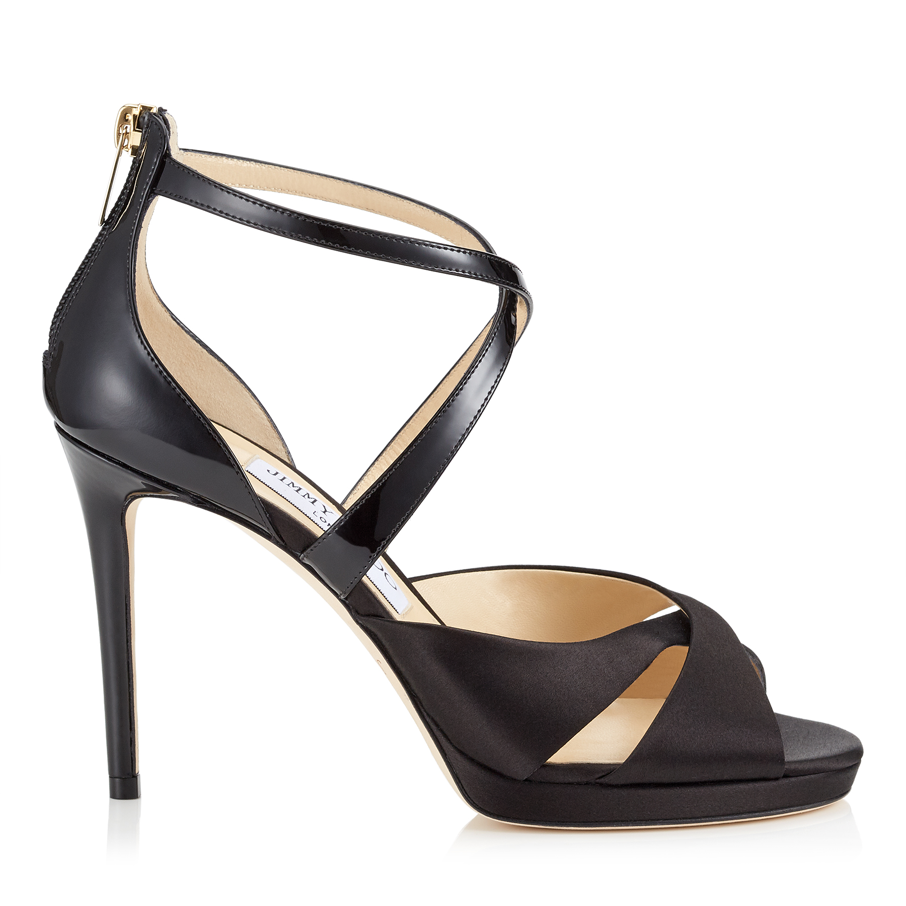 LORINA 100 Black Satin and Patent Sandals by Jimmy Choo