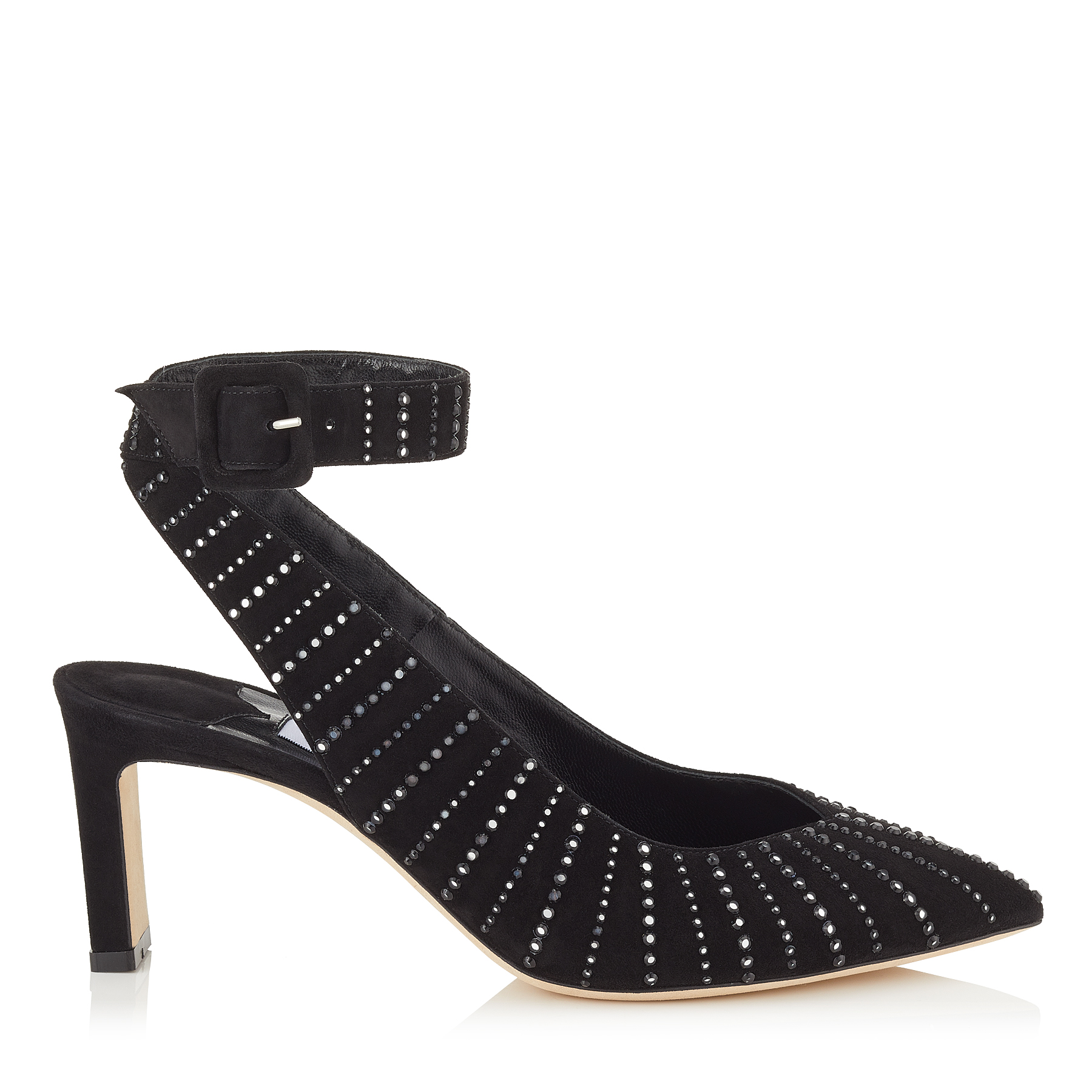 LOU 65 Black Suede Pumps with Silver Mirror Hotfix by Jimmy Choo