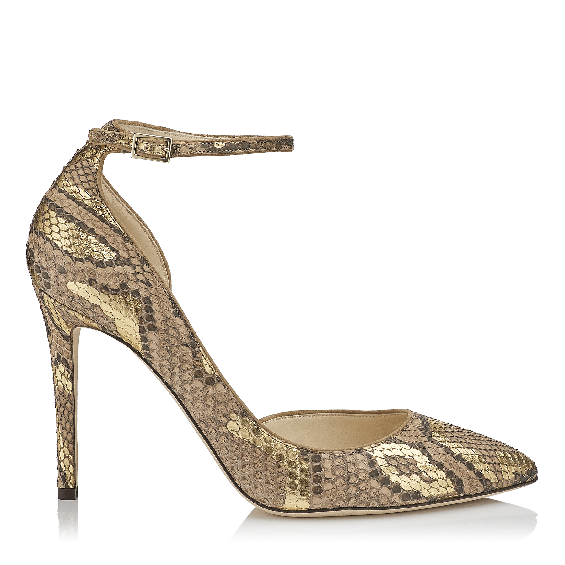 LUCY 100 Hazel and Gold Pointy Toe Metalised Python Pumps by Jimmy Choo