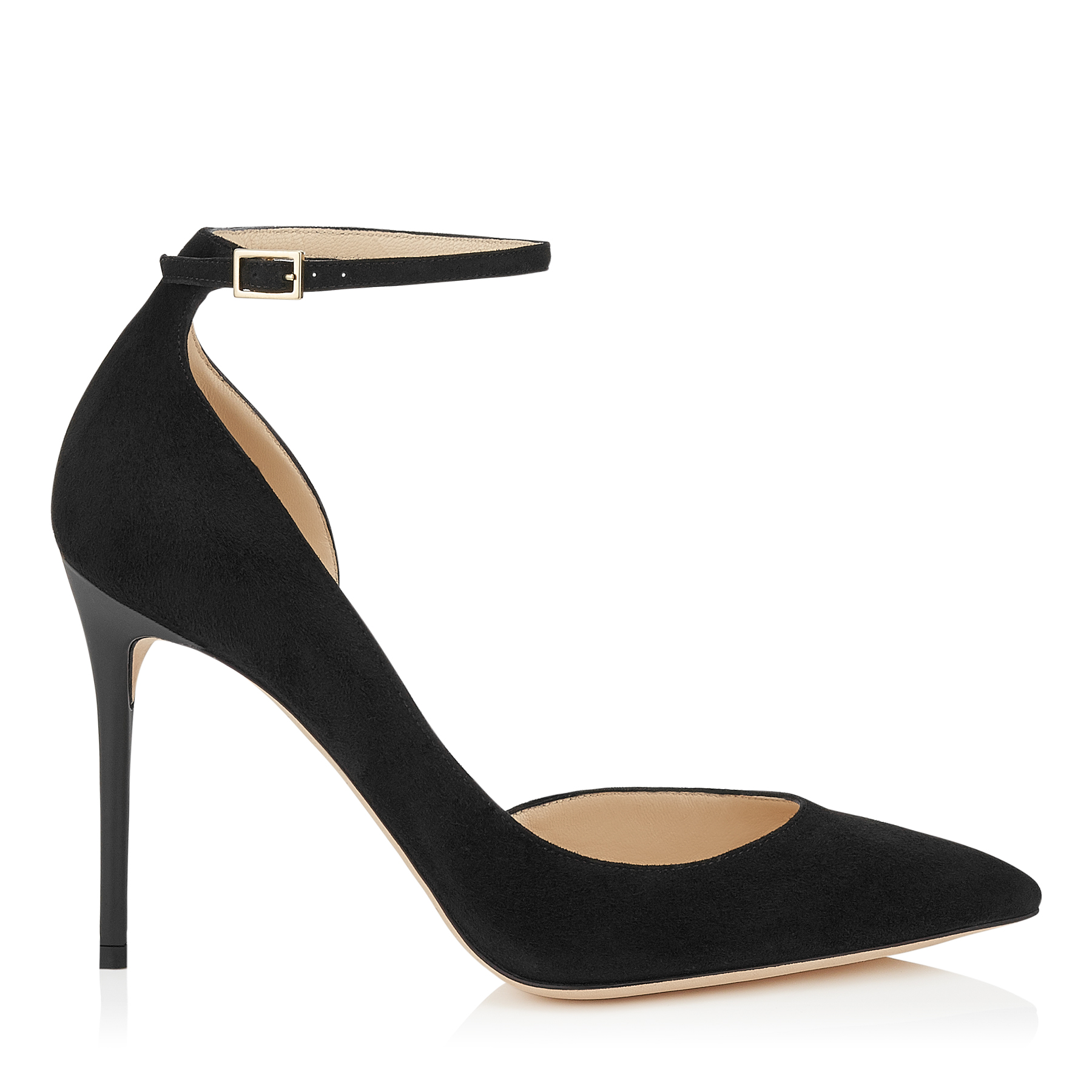 LUCY 100 Black Suede Pointy Toe Pumps by Jimmy Choo