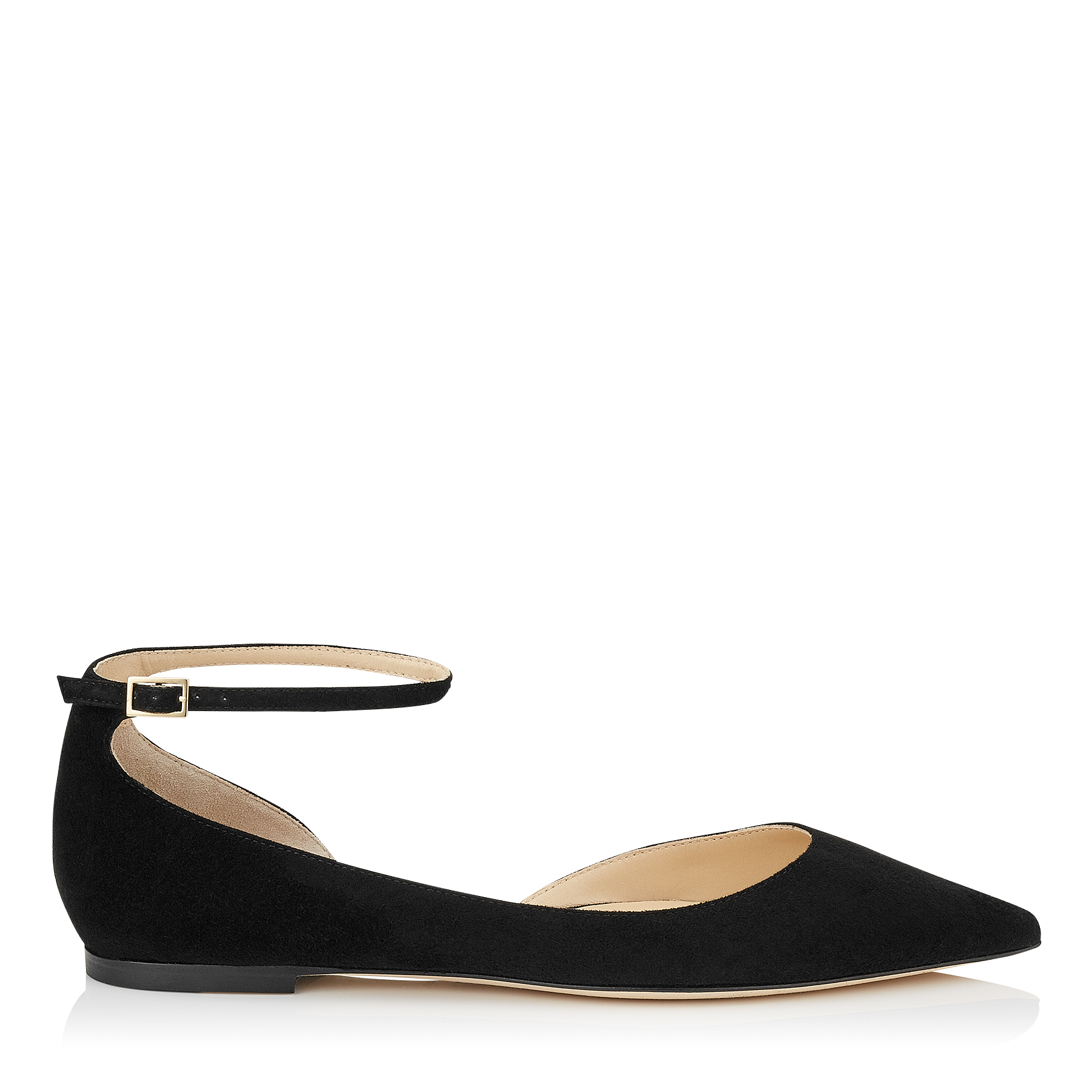 LUCY FLAT Black Suede Pointy Toe Flats by Jimmy Choo