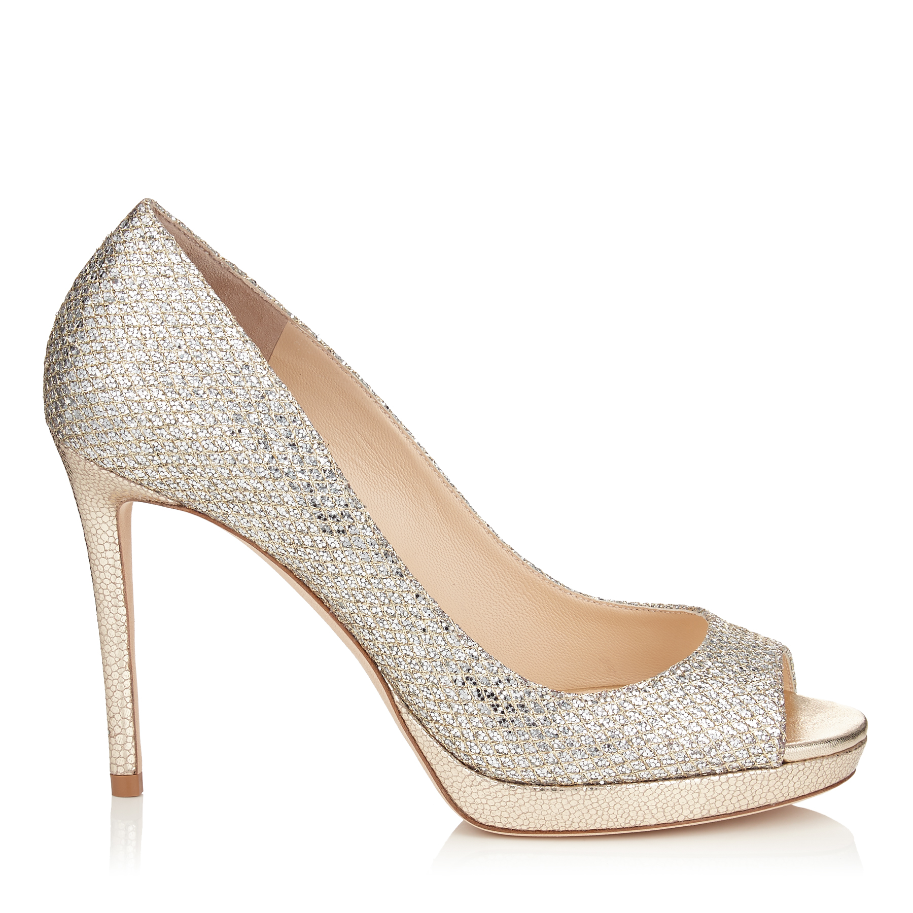 LUNA 100 Champagne Glitter Fabric Peep Toe Platform Pumps by Jimmy Choo