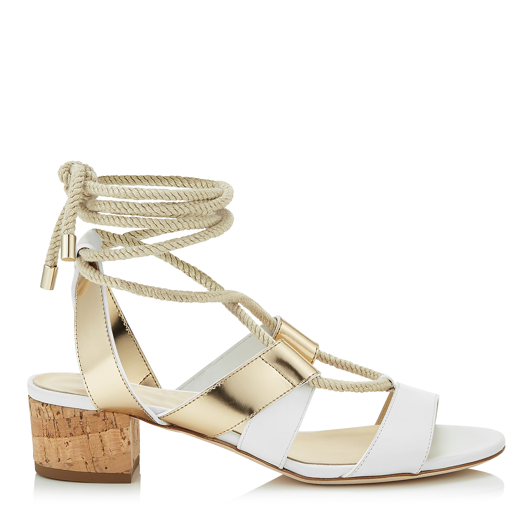 MADDIE 40 White Vachetta and Gold Mirror Leather Sandals by Jimmy Choo