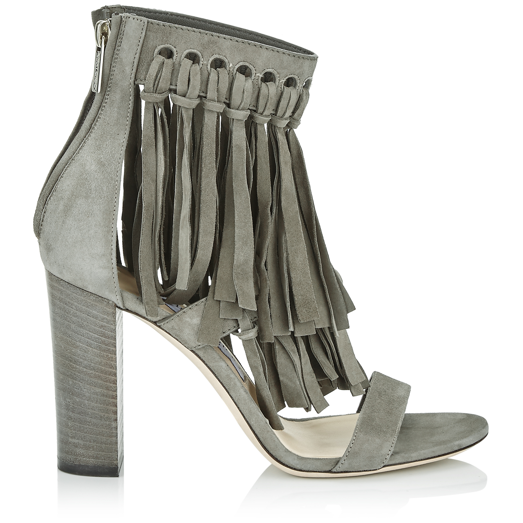MALIA 95 Mink Suede Sandals with Fringe Detailing by Jimmy Choo