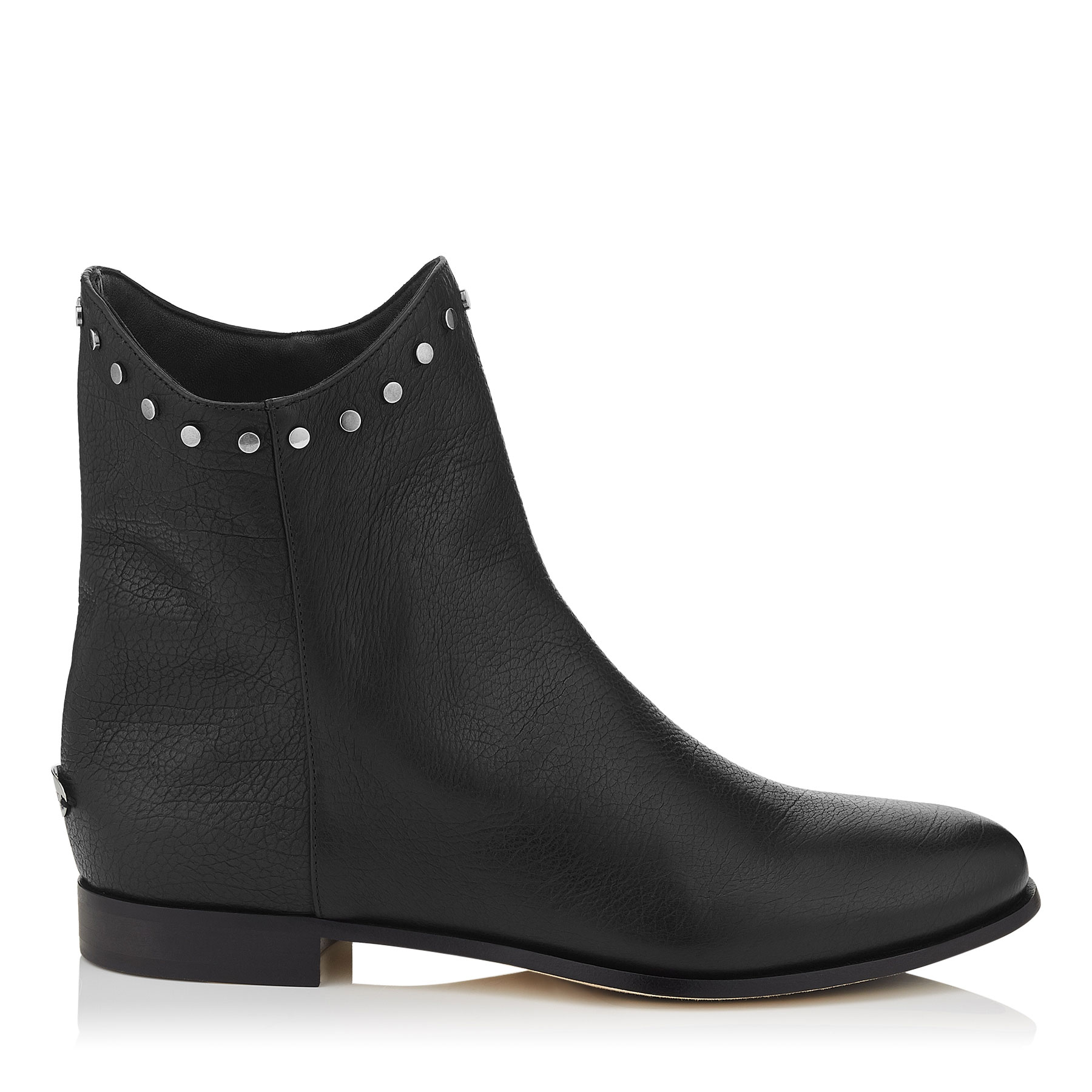 MARCO FLAT Black leather Ankle Boots by Jimmy Choo
