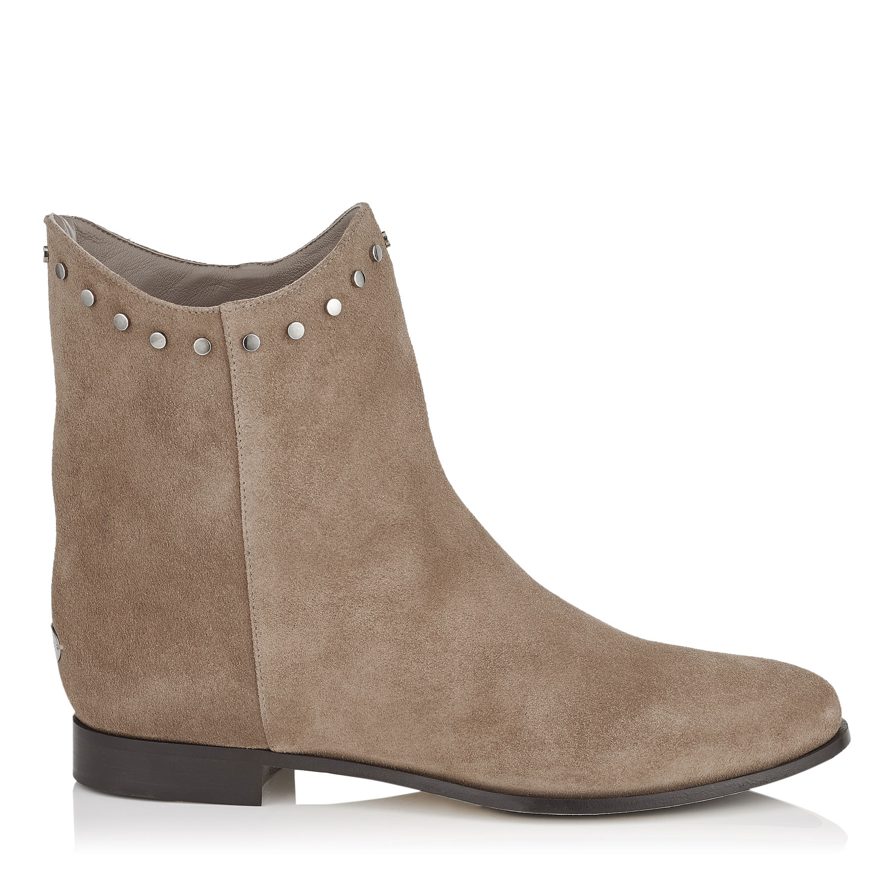 MARCO FLAT Light Mocha Suede Ankle Boots by Jimmy Choo