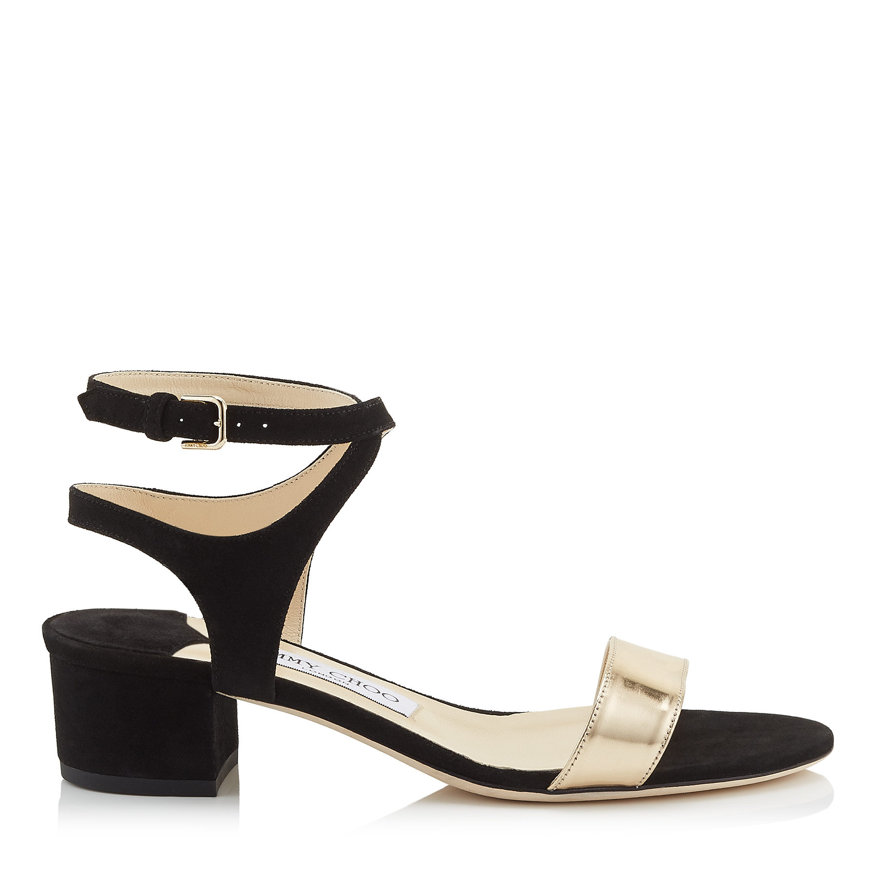 MARINE 35 Black Suede and Dore Mirror Leather Sandals by Jimmy Choo