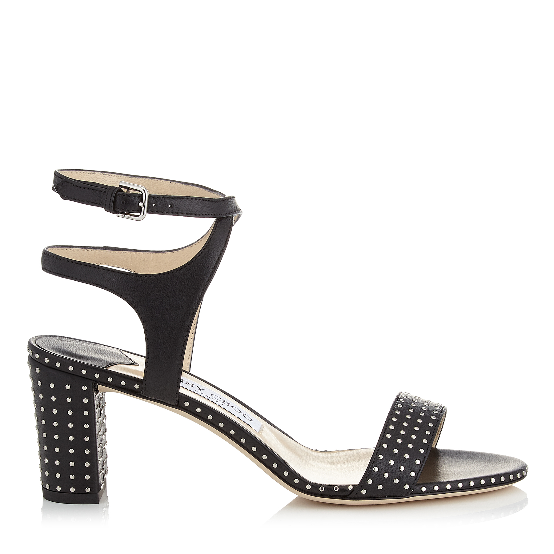 MARINE 65 Black Nappa Leather Sandals with Silver Micro Studs by Jimmy Choo