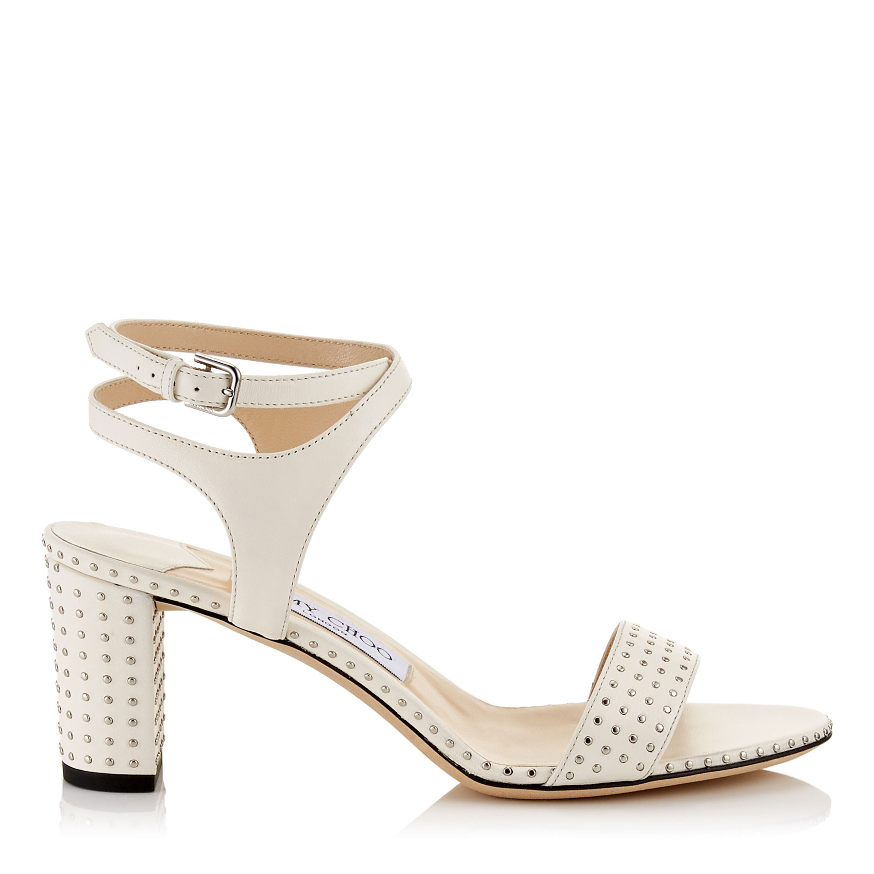 MARINE 65 Chalk Nappa Leather Sandals with Silver Micro Studs by Jimmy Choo