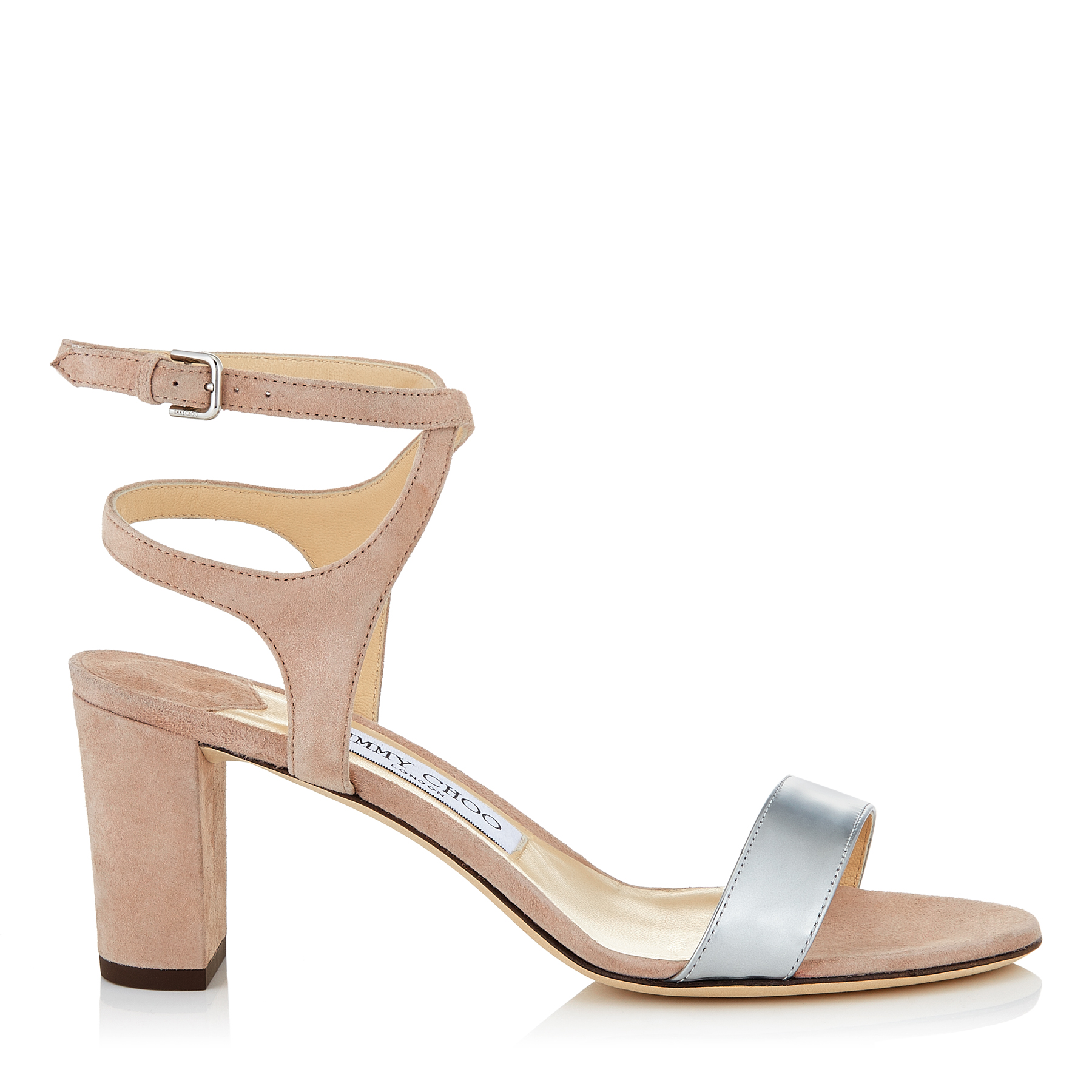 MARINE 65 Ballet Pink Suede and Silver Liquid Mirror Leather Sandals by Jimmy Choo