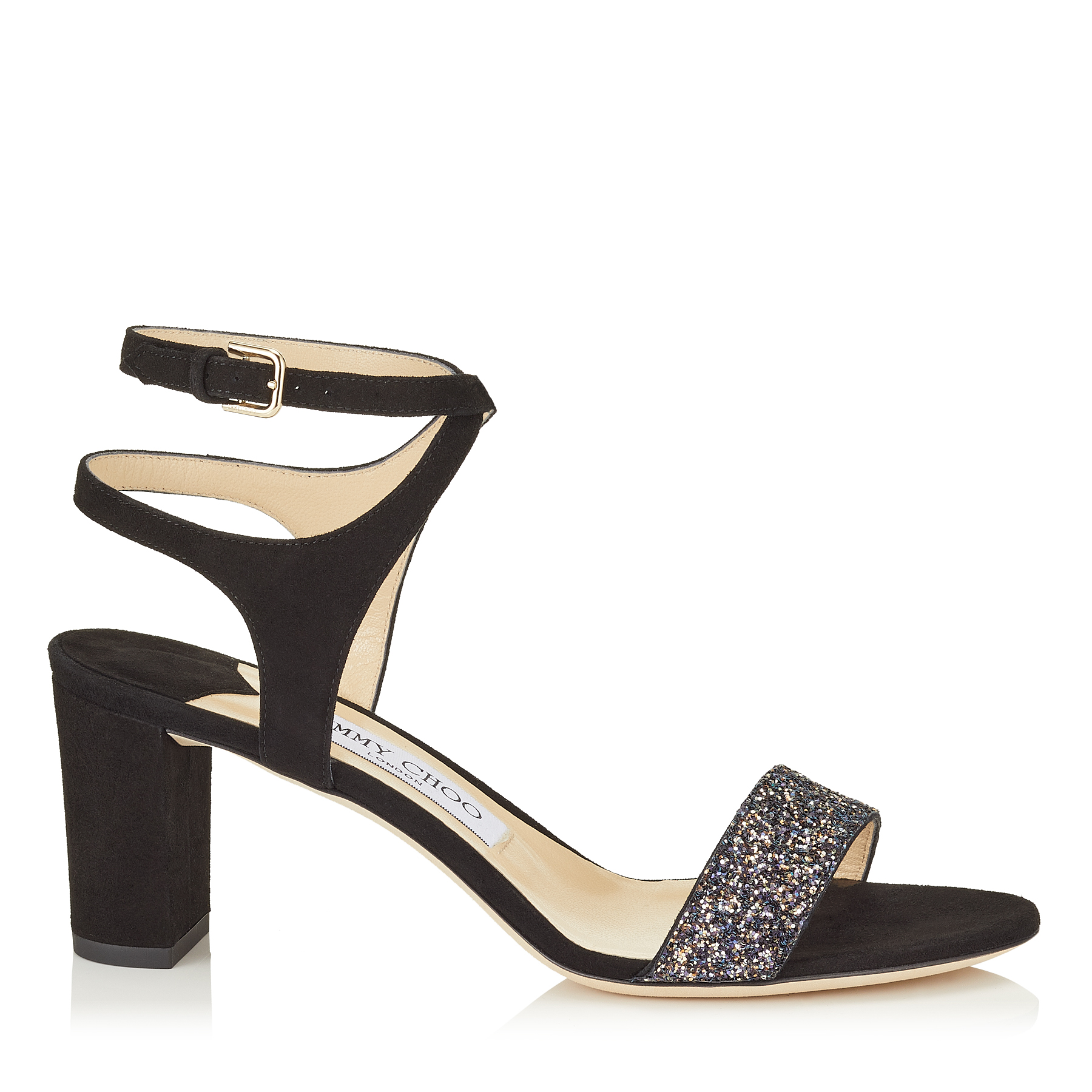 MARINE 65 Black Suede and Twilight Glitzy Glitter Fabric Sandals by Jimmy Choo