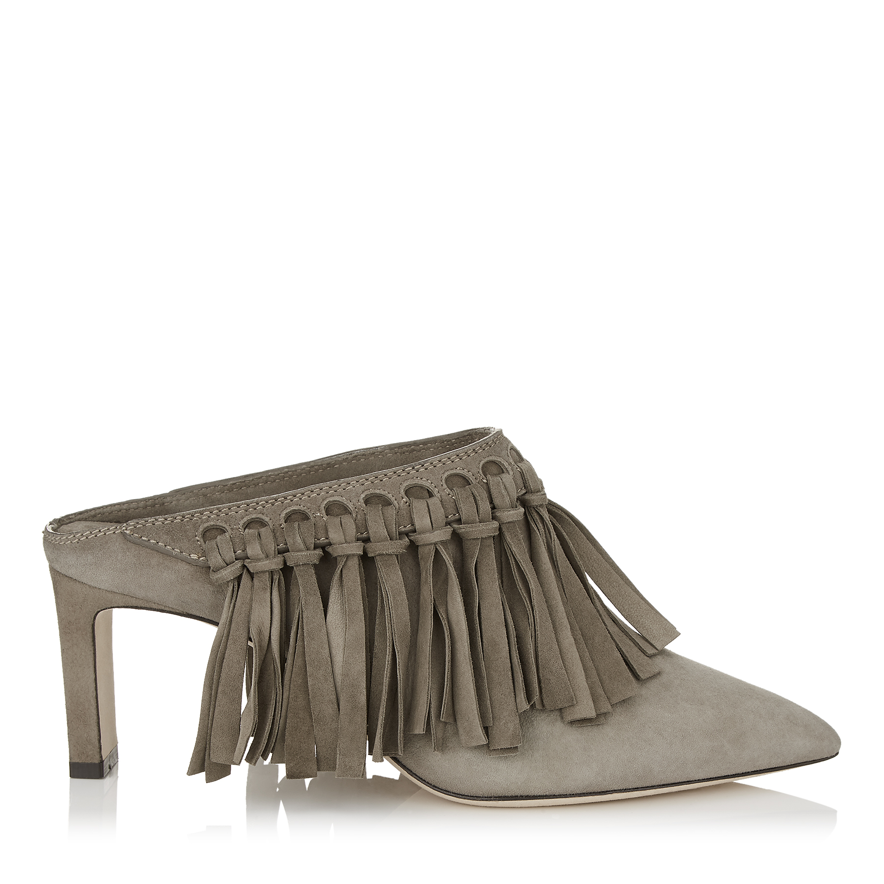 MAZZ 65 Mink Suede Pointy Toe Mules with Fringe Detailing by Jimmy Choo
