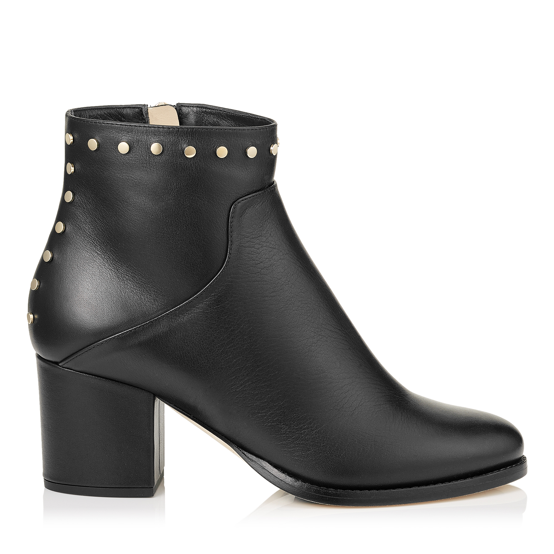 MELVIN 65 Black Smooth Leather Ankle Boots with Studs Trim by Jimmy Choo