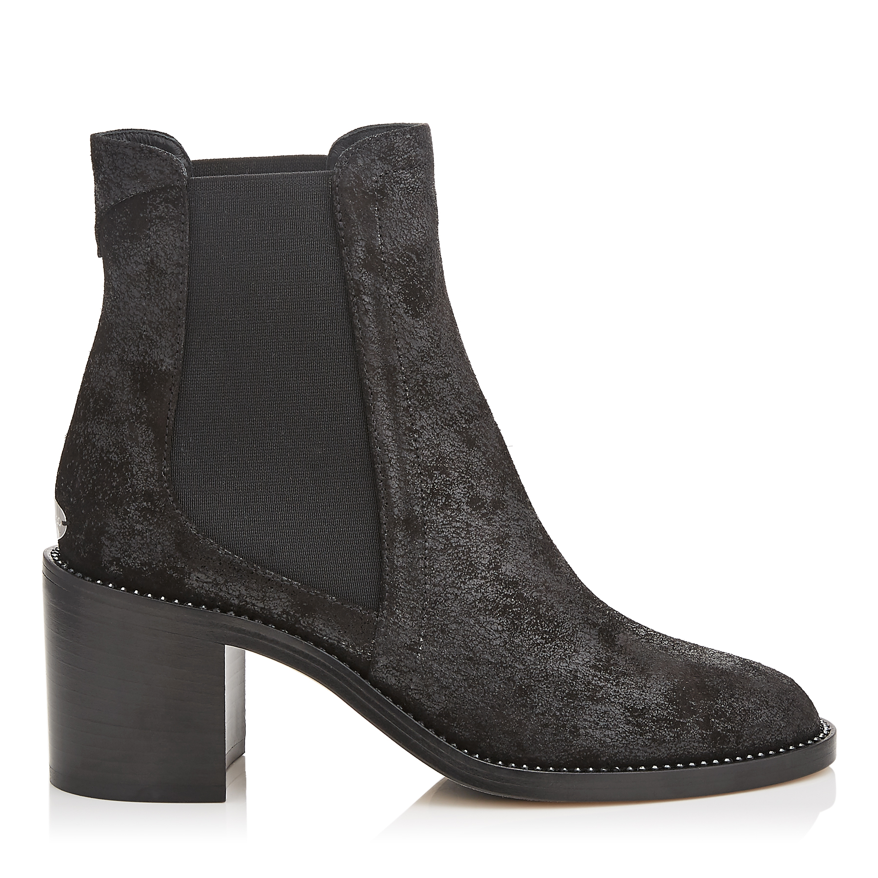MERRIL 65 Black Wetlook Suede Ankle Boots with Crystal Welt by Jimmy Choo