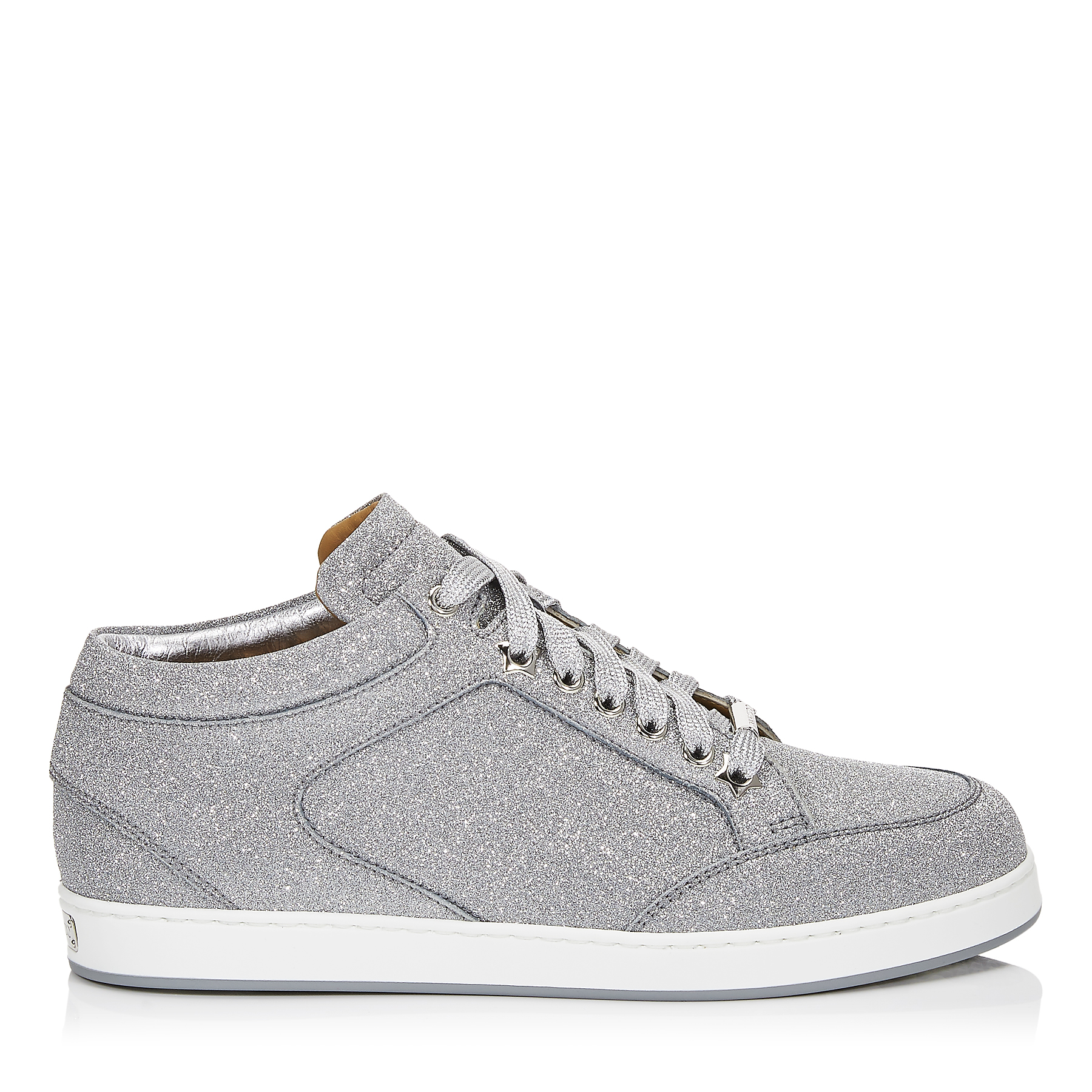 MIAMI Silver Mix Fine Glitter Leather Trainers by Jimmy Choo