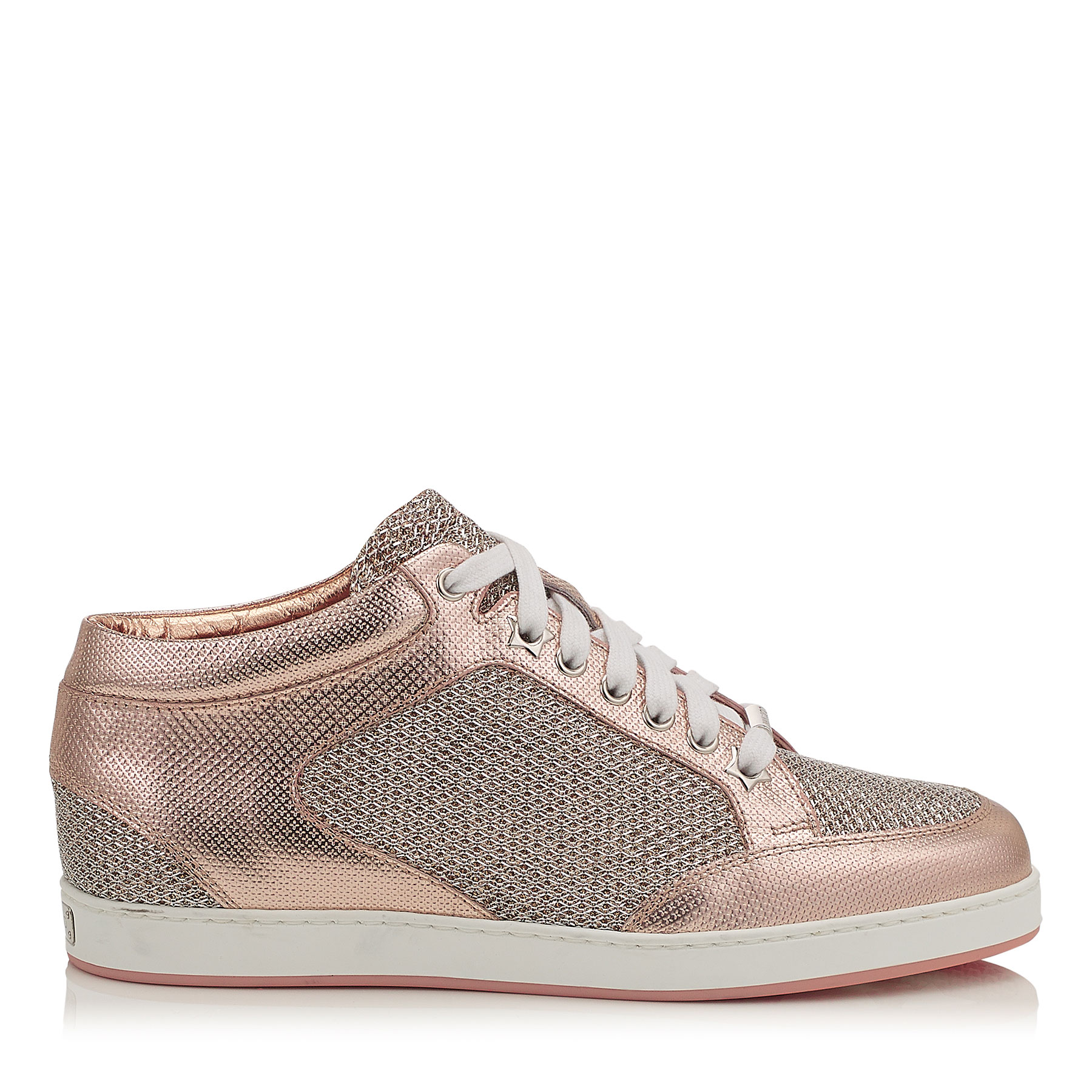 MIAMI Tea Rose Metallic Printed Leather and Glitter Low Top Trainers by Jimmy Choo