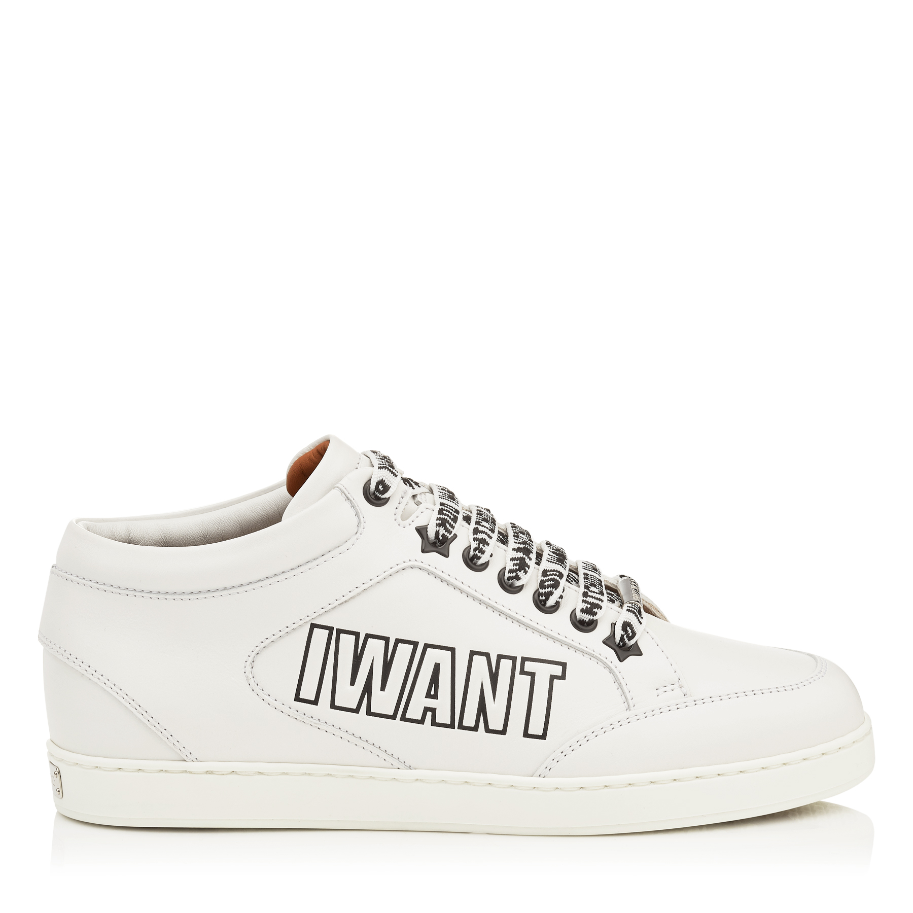 MIAMI Chalk Nappa Leather Sneakers with Logo Embossed Leather by Jimmy Choo