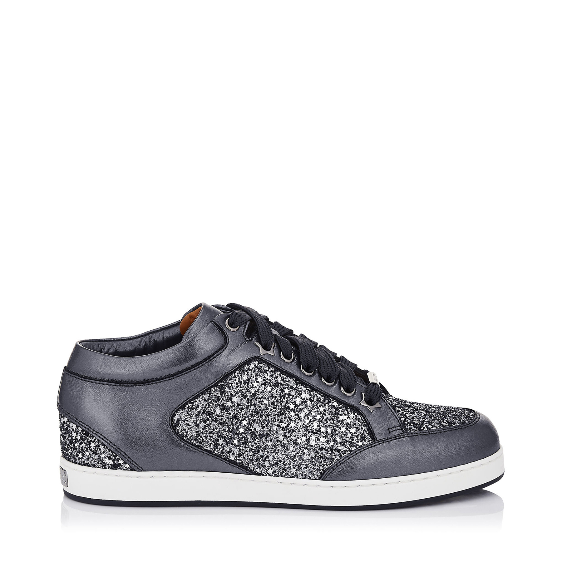 MIAMI Gunmetal Mix Star Coarse Glitter Fabric and Metallic Nappa Sneakers by Jimmy Choo