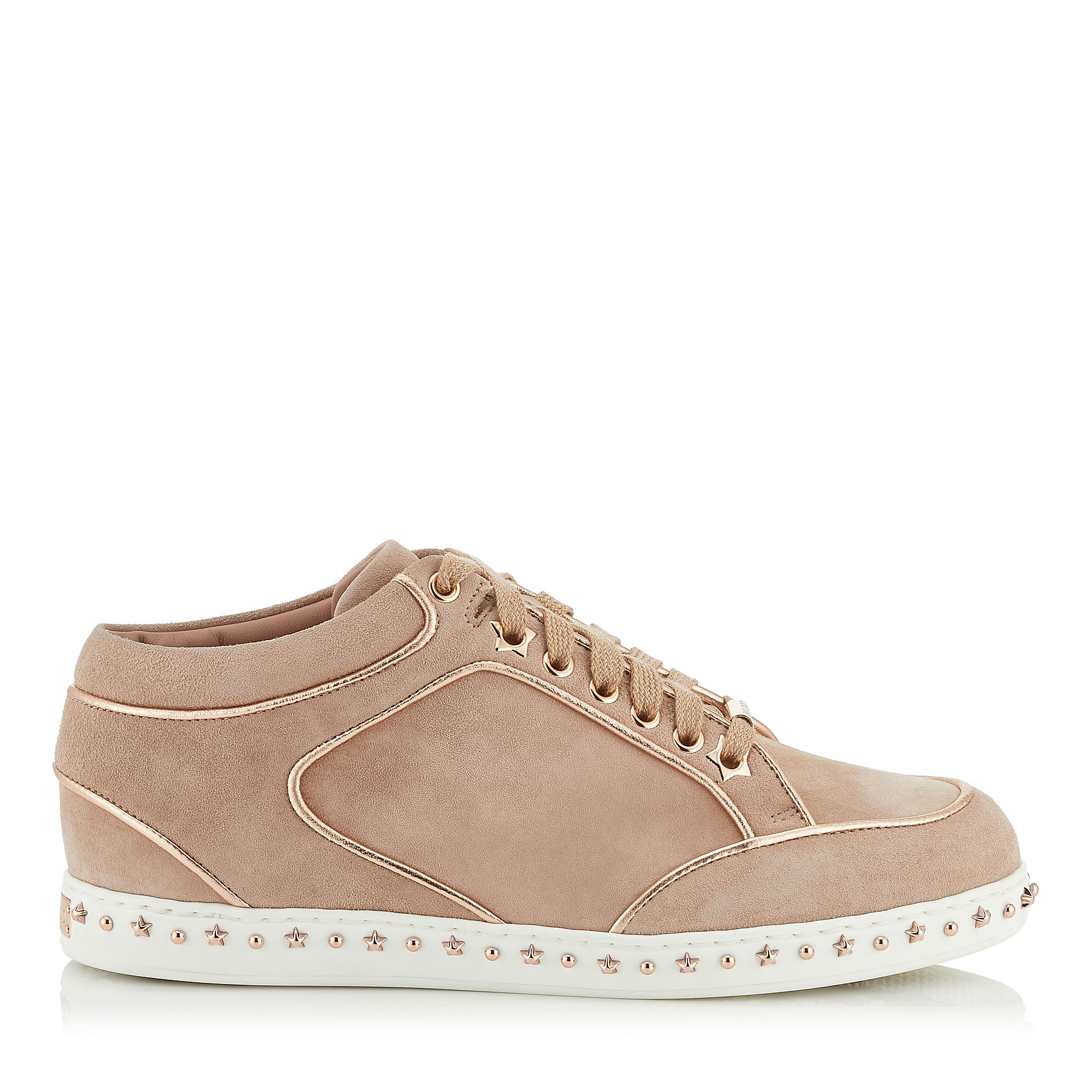 MIAMI Ballet Pink Suede Trainers with Metallic Nappa Leather Piping by Jimmy Choo