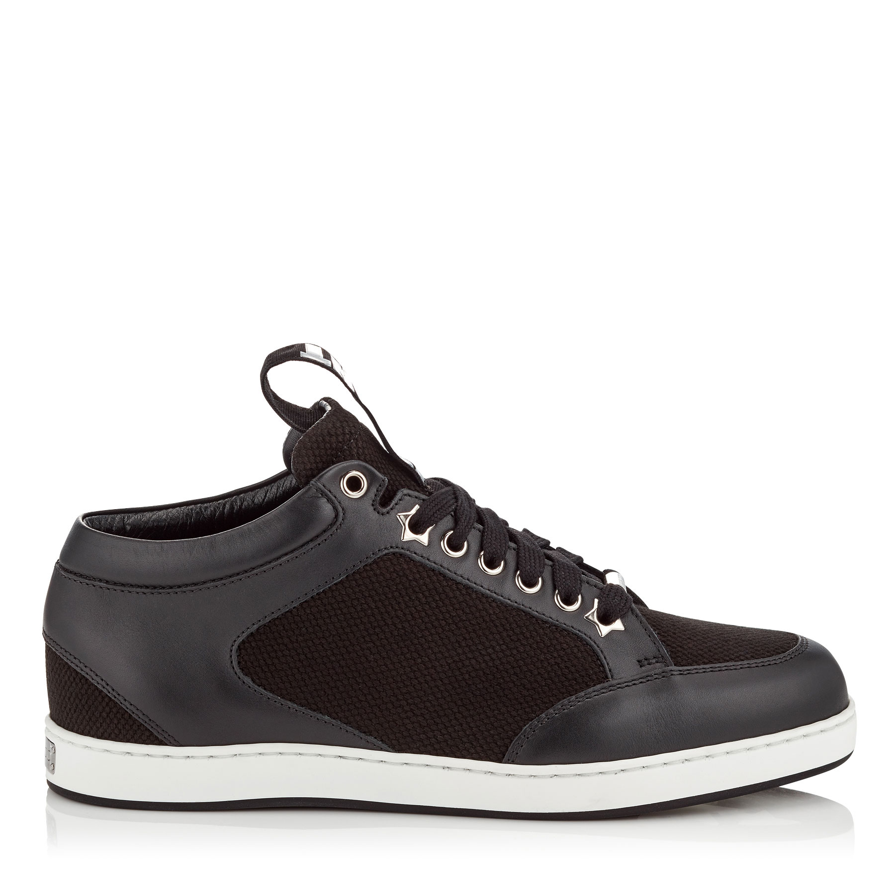 MIAMI Black Canvas and Leather Sneakers with Logo Pull by Jimmy Choo