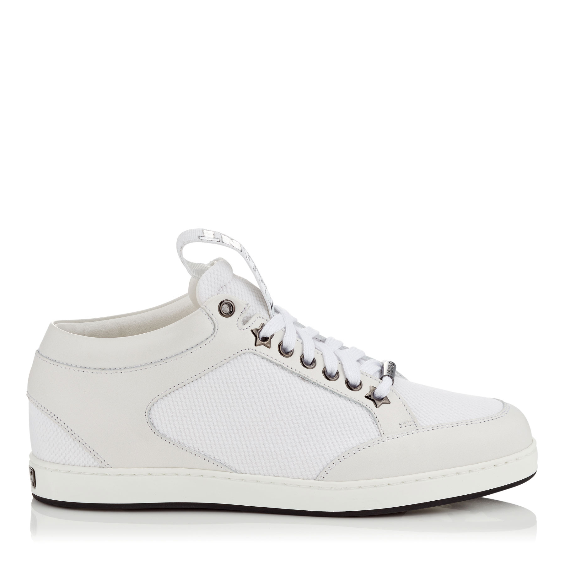 MIAMI White Canvas and Leather Sneakers with Logo Pull by Jimmy Choo
