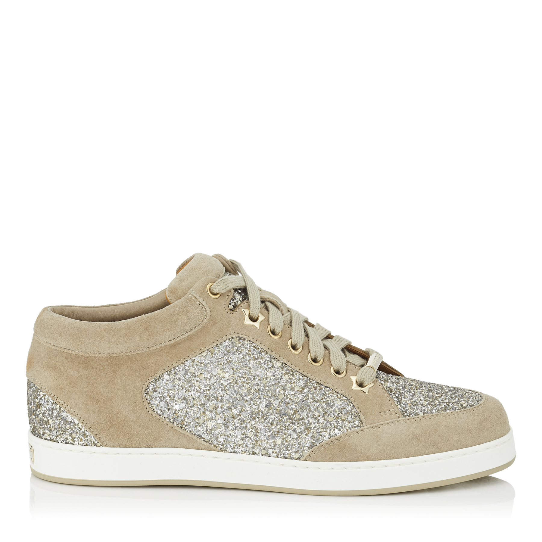 MIAMI Chai Shadow Coarse Glitter Fabric and Suede Sneakers by Jimmy Choo