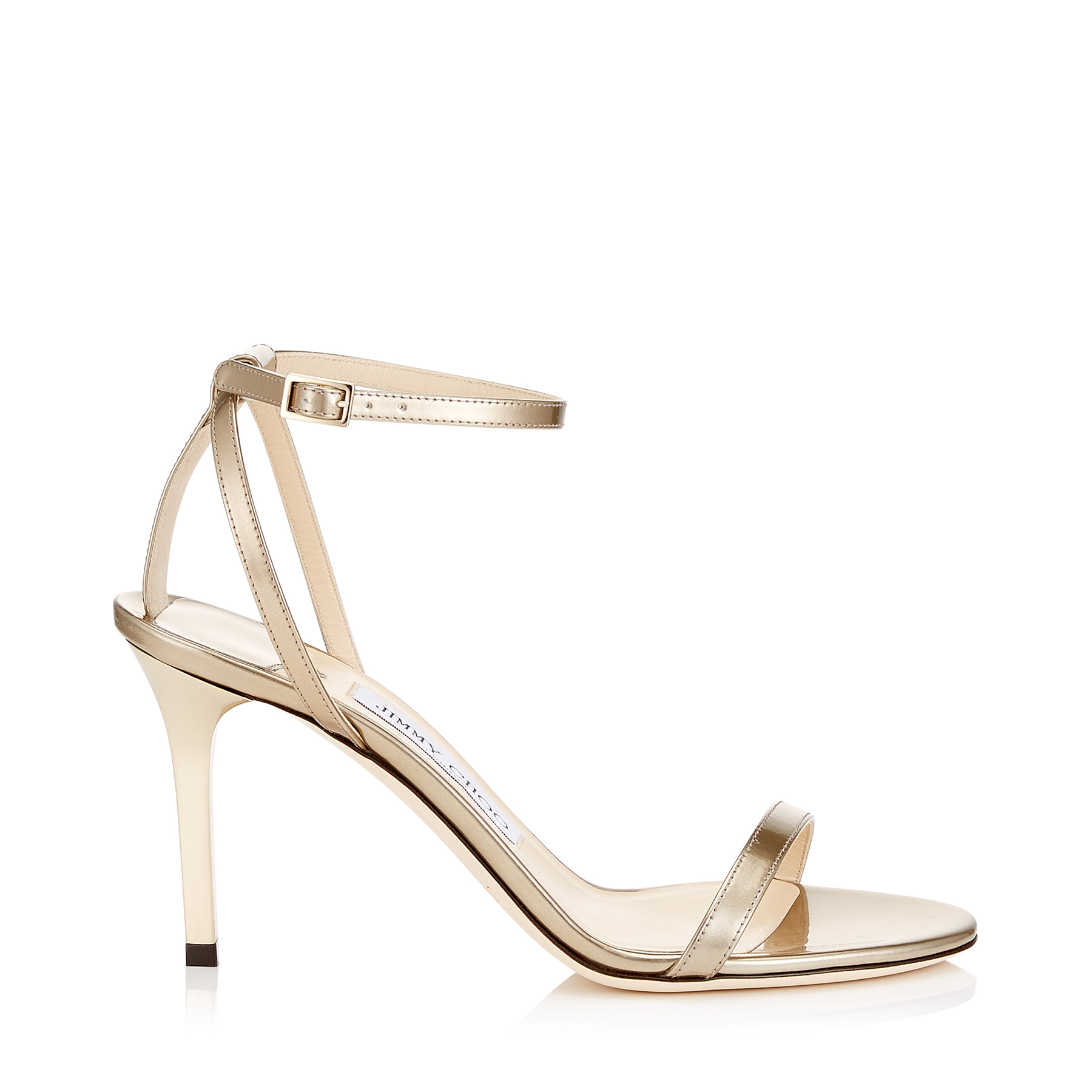 MINNY 85 Gold Liquid Mirror Leather Sandals by Jimmy Choo