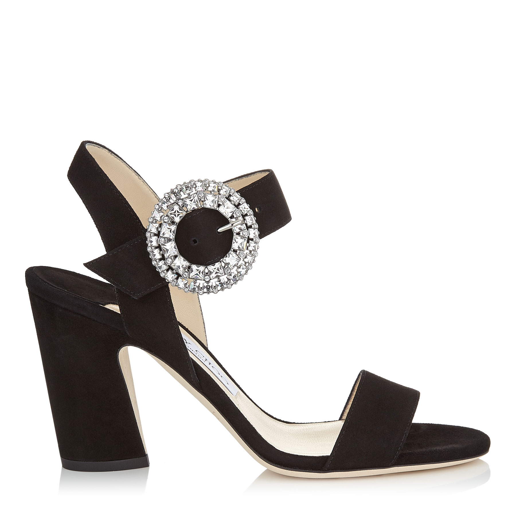 MISCHA 85 Black Suede Slingback Sandals with Crystal Buckle by Jimmy Choo
