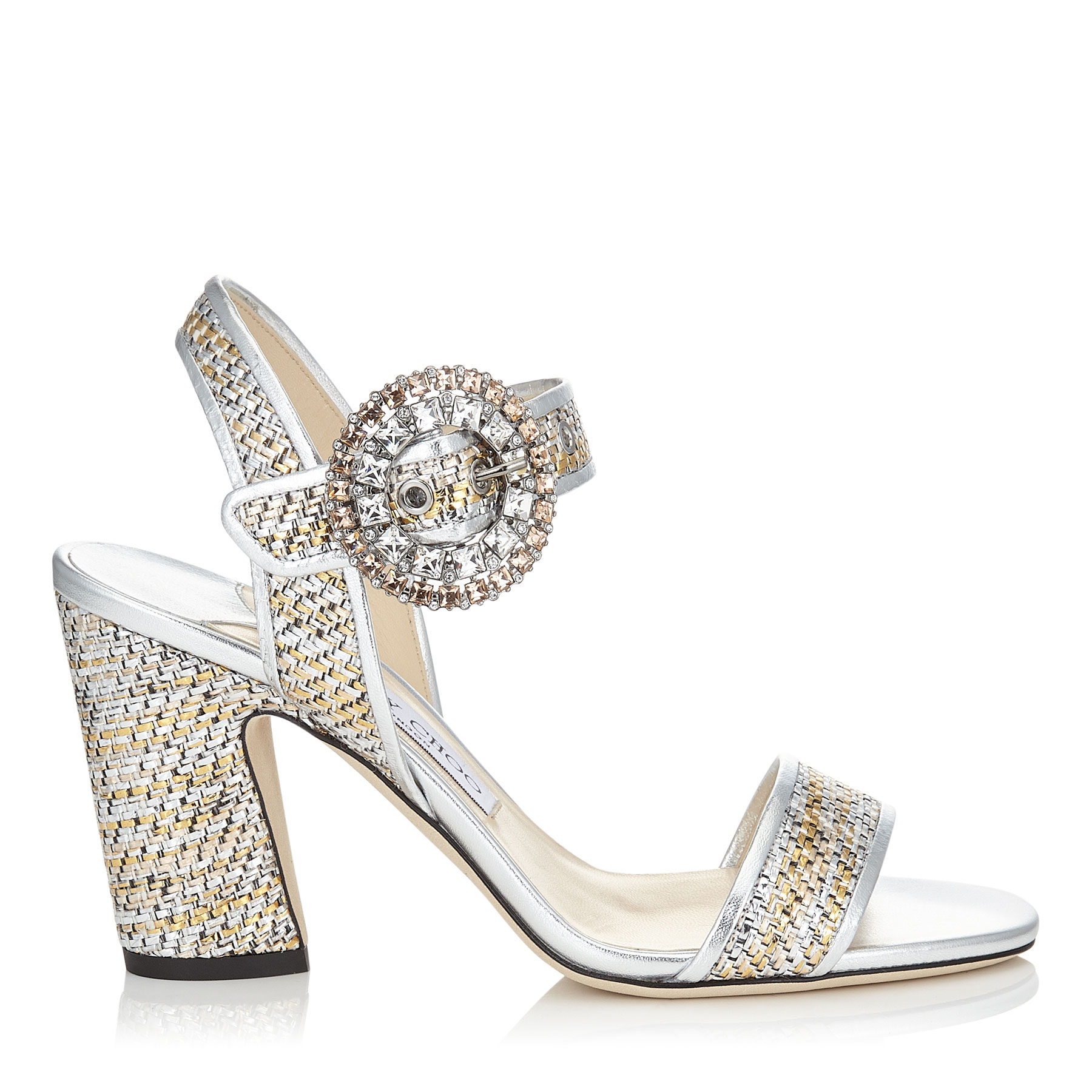 MISCHA 85 Silver Woven Metallic Fabric Slingback Sandals with Crystal Buckle by Jimmy Choo