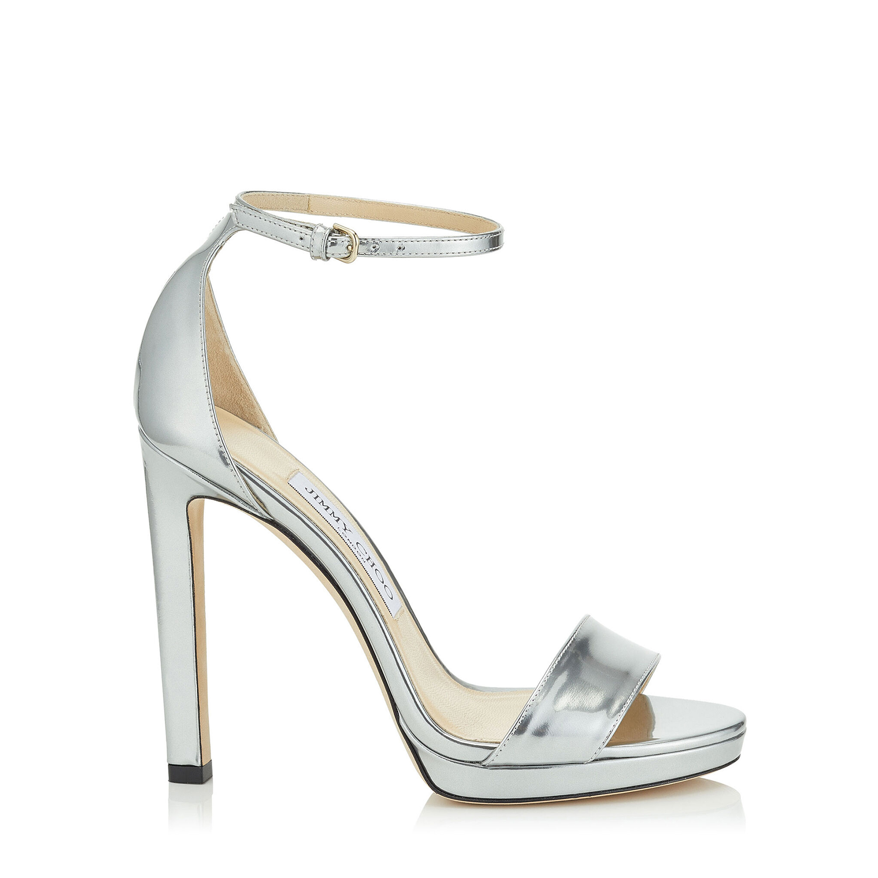 MISTY 120 Silver Liquid Mirror Leather Platform Sandals by Jimmy Choo