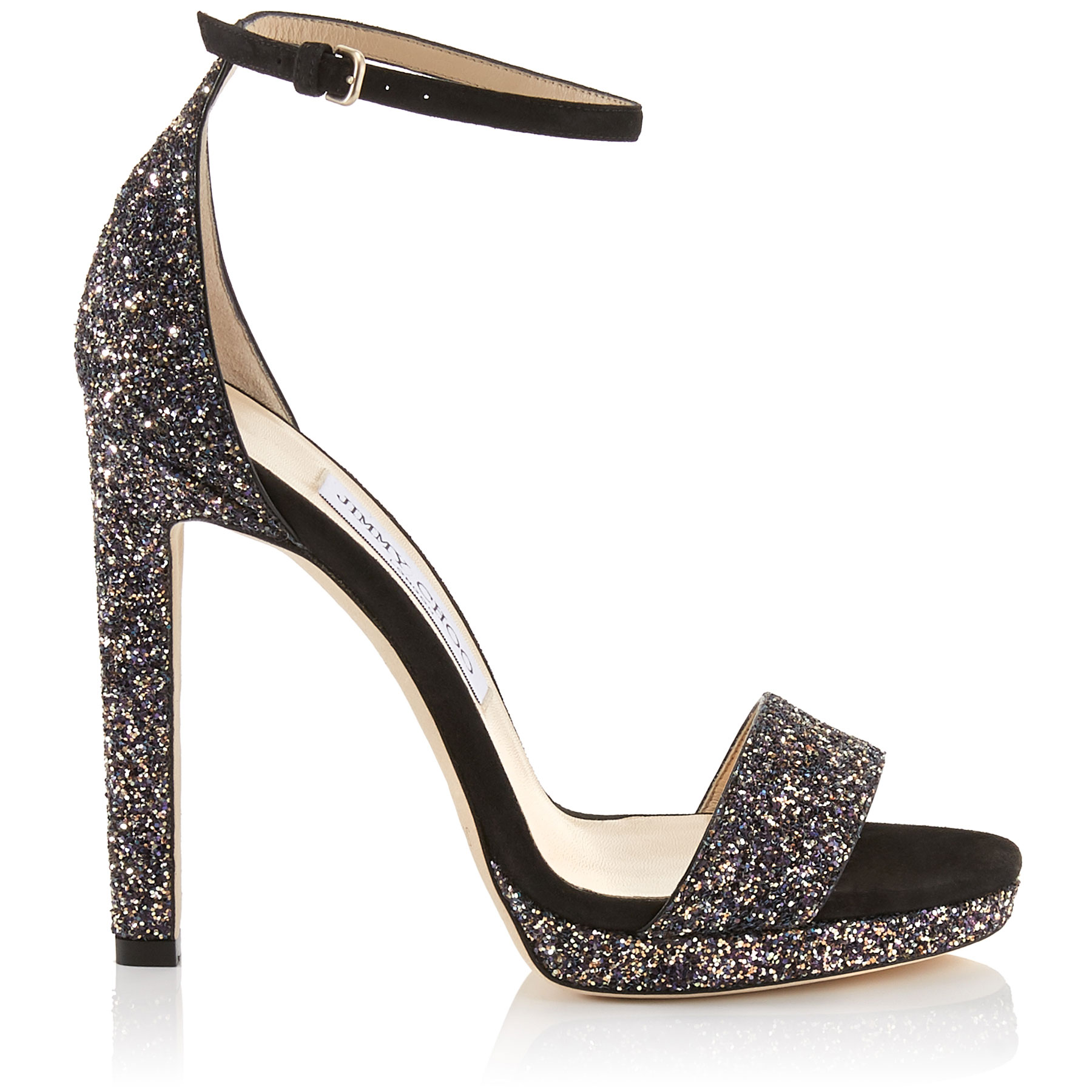 Misty 120 Black Suede And Glitzy Glitter Fabric Platform Sandals, Twilight