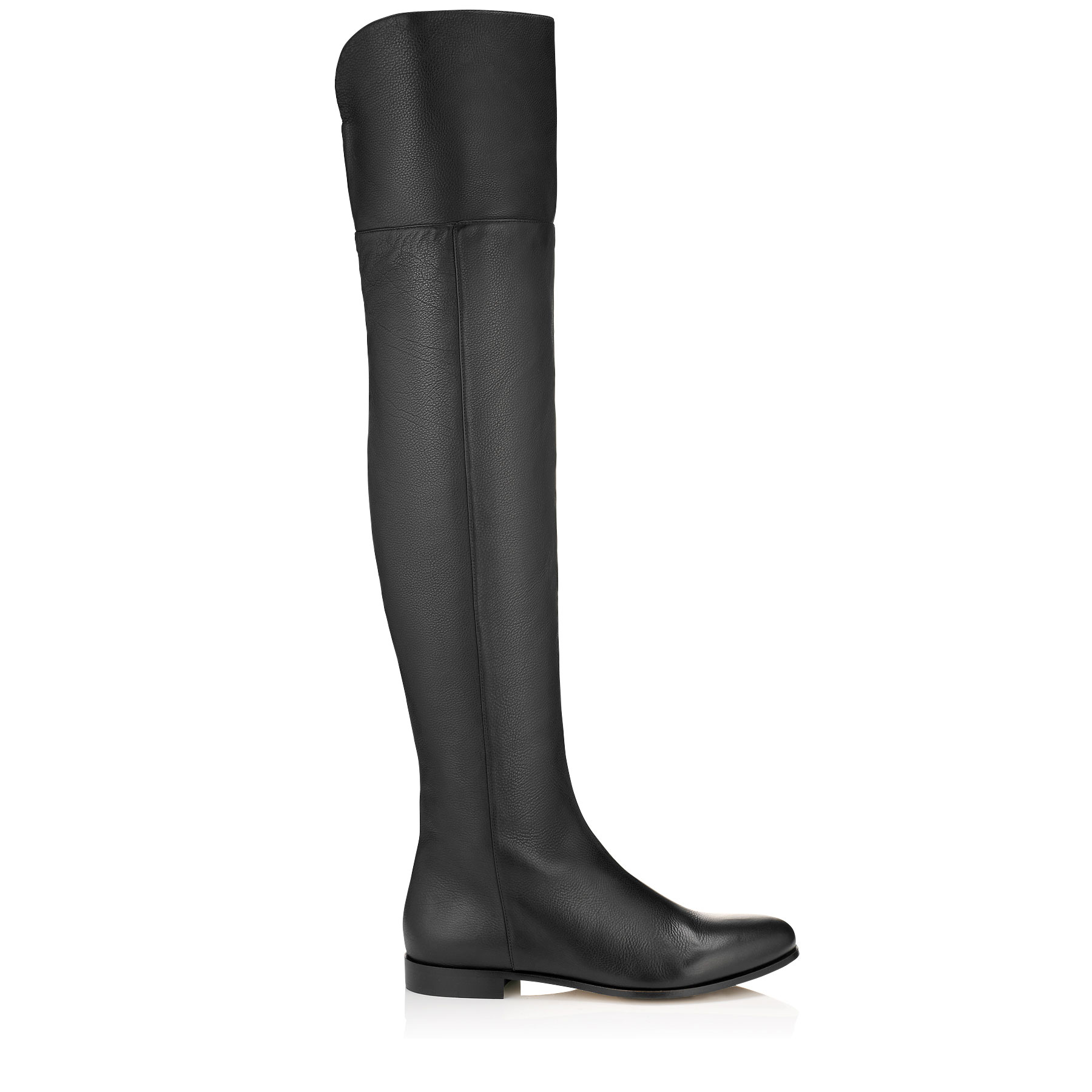 MITTY FLAT Black Grainy Calf Leather Flat Over the Knee Boots by Jimmy Choo