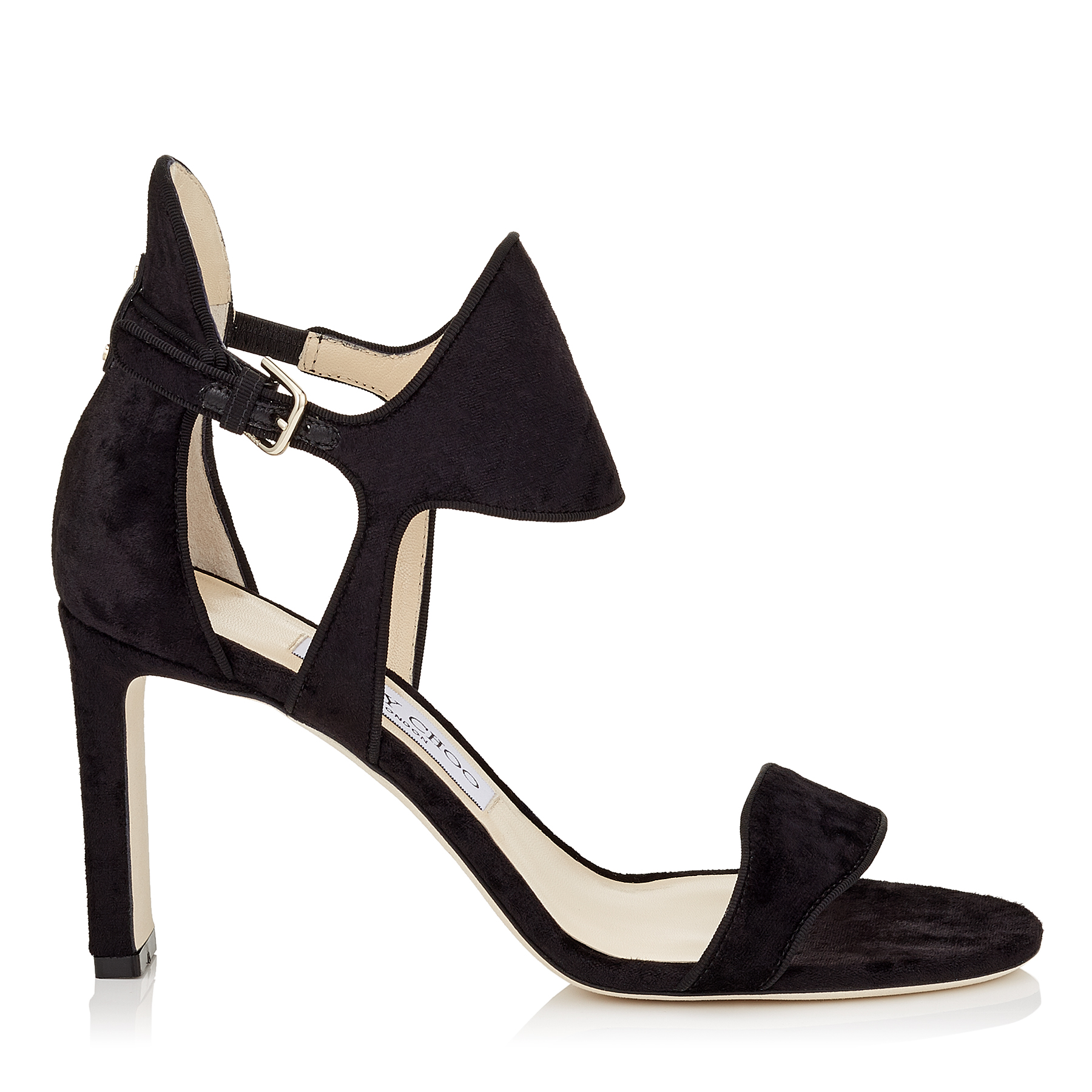 Photo of MOLLY 85 Black Crushed Velvet Sandals by Jimmy Choo womens shoes - buy Jimmy Choo footwear online