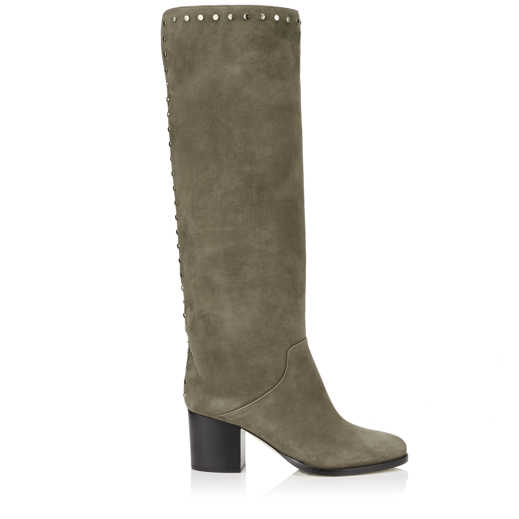 MONROE 65 Mink Suede Knee High Boots with Studded Trim by Jimmy Choo