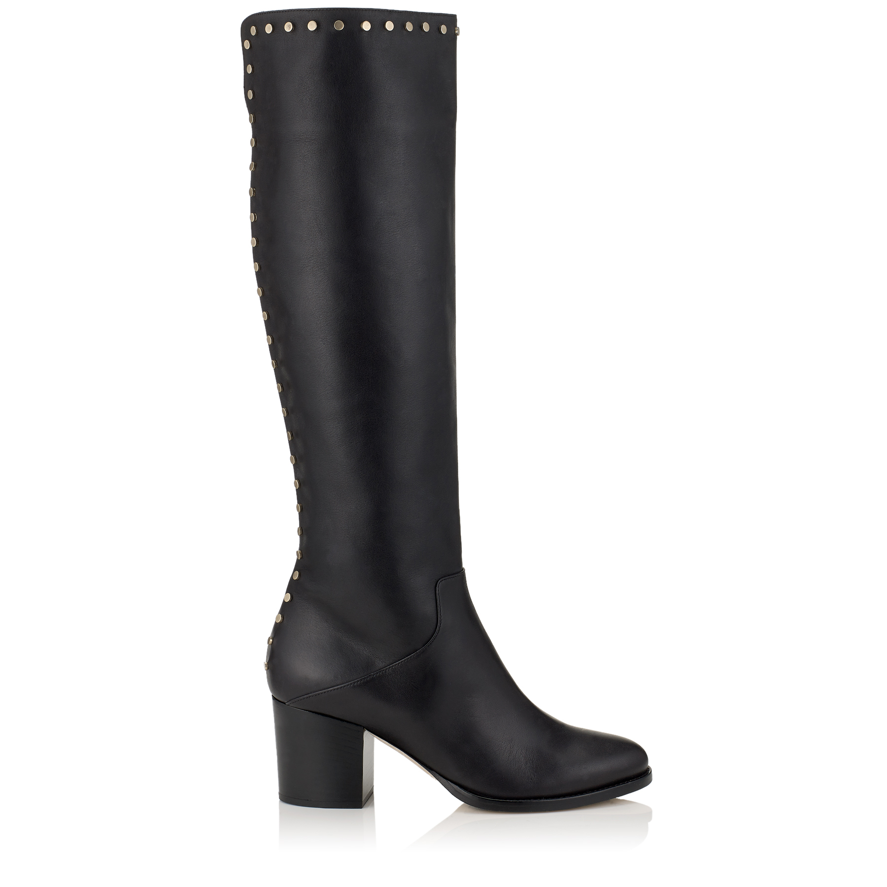 MONROE 65 Black Smooth Leather Knee High Boots with Studs Trim by Jimmy Choo