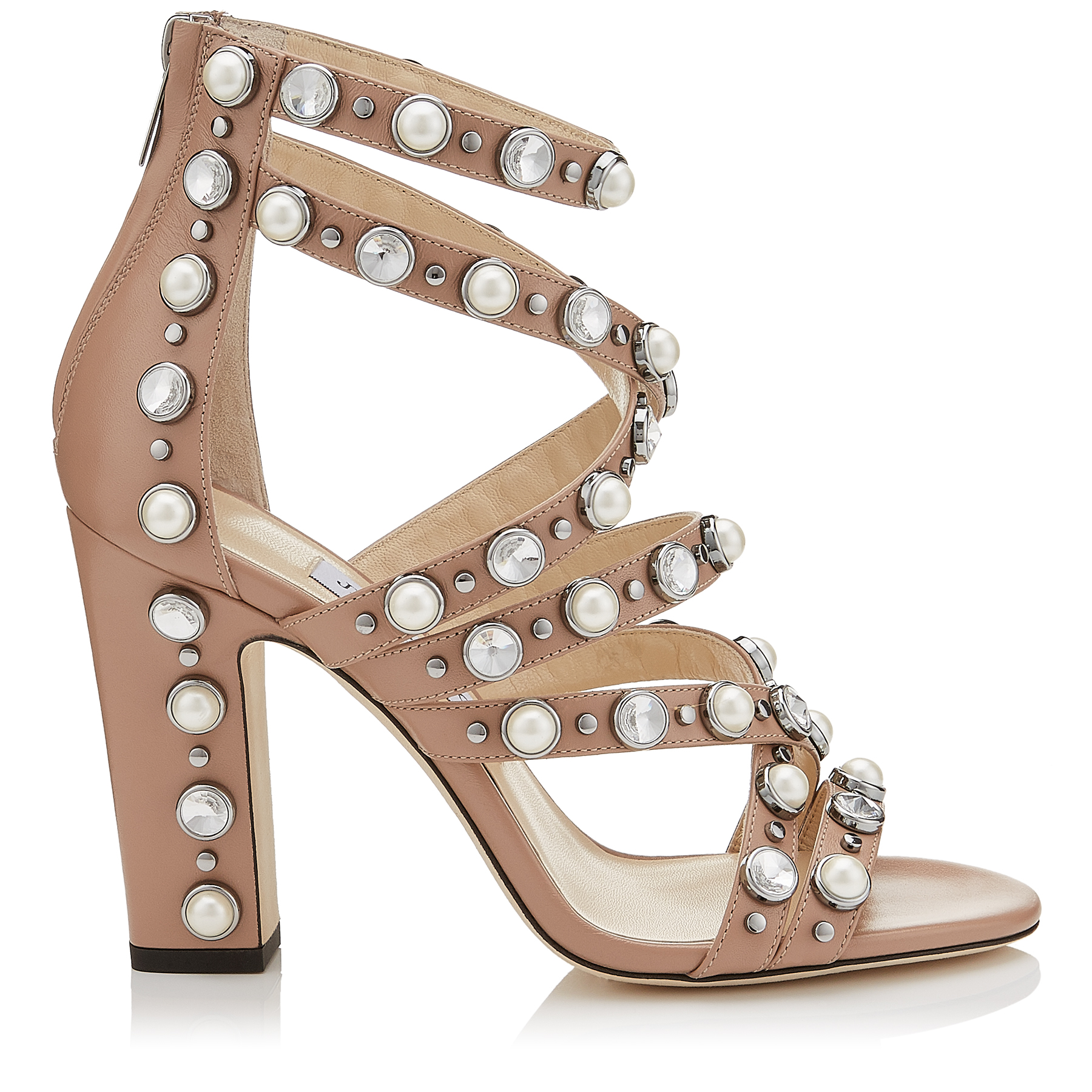 MOORE 100 Ballet Pink Calf Leather Sandals with Beads and Crystals by Jimmy Choo