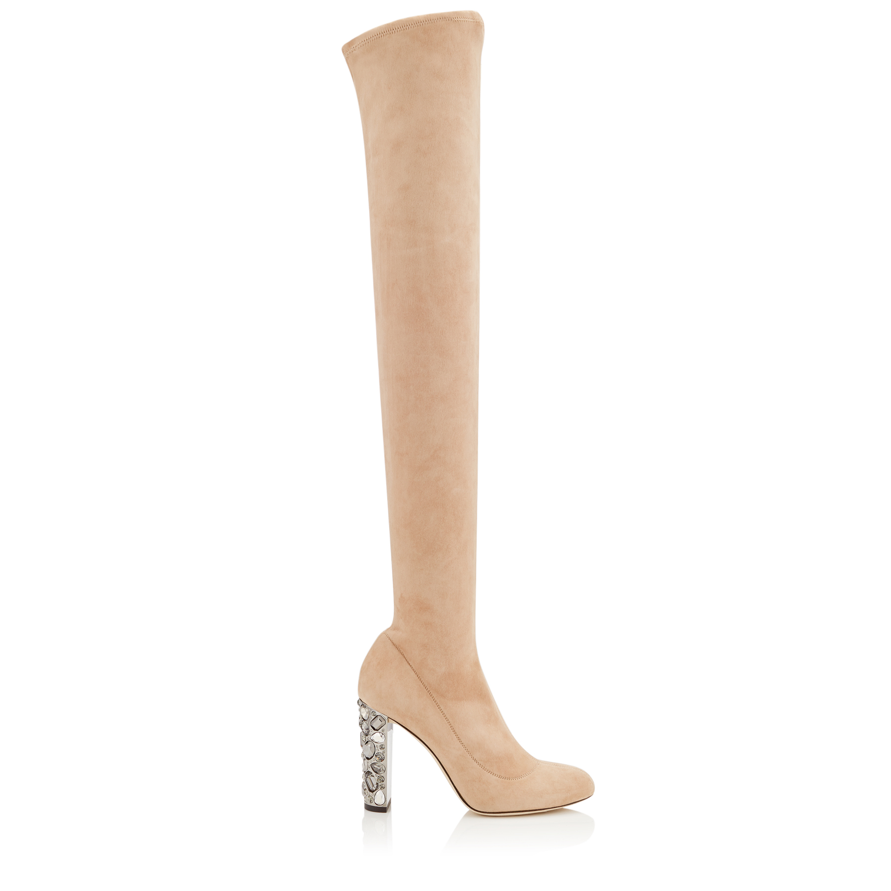MYA 100 Ballet Pink Stretch Suede Over The Knee Boots with Metallic Embellished Heel by Jimmy Choo